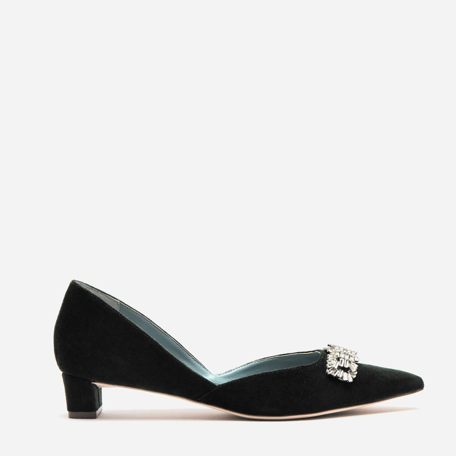 Paula Mini Block Heel Velvet Black - Frances Valentine