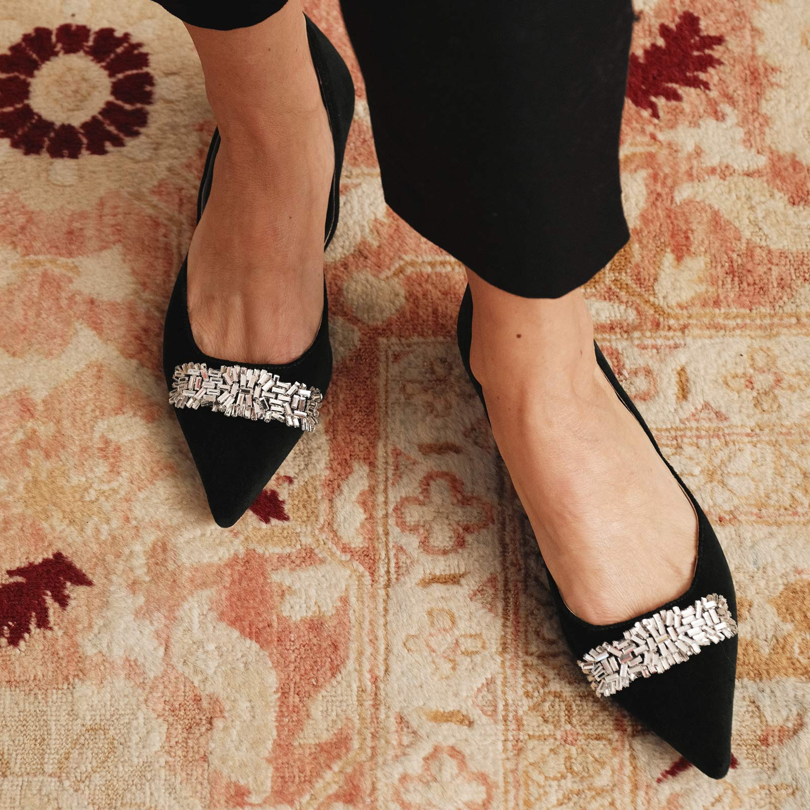 Paula Mini Block Heel Velvet Black