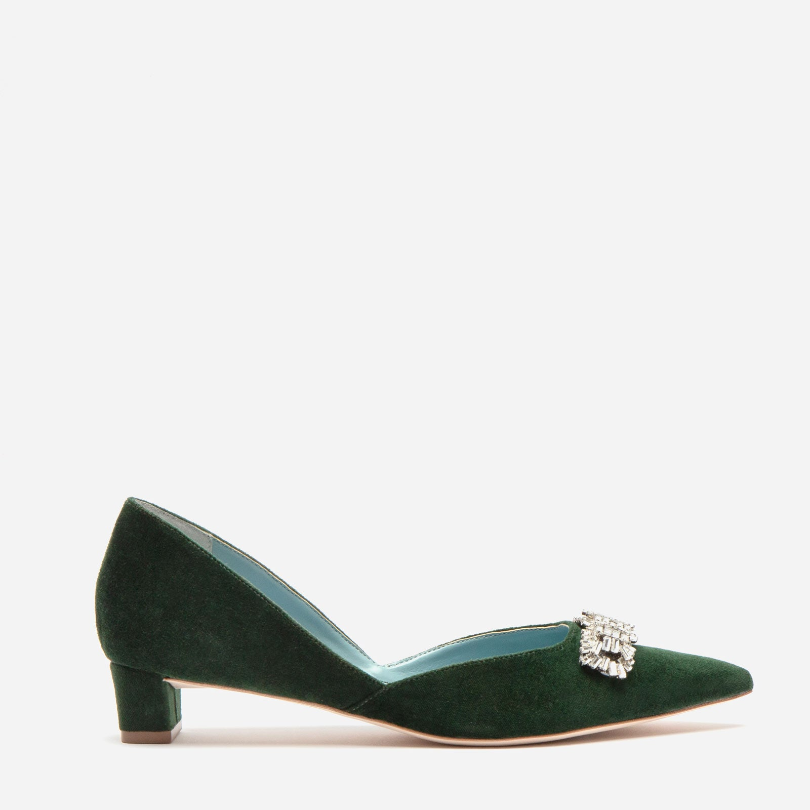 Paula Mini Block Heel Velvet Forest Green - Frances Valentine