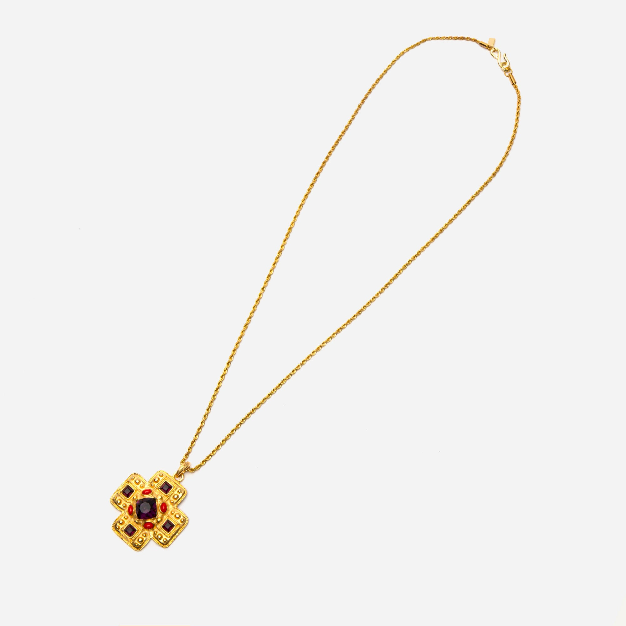 Gold Gem Cross Necklace - Frances Valentine