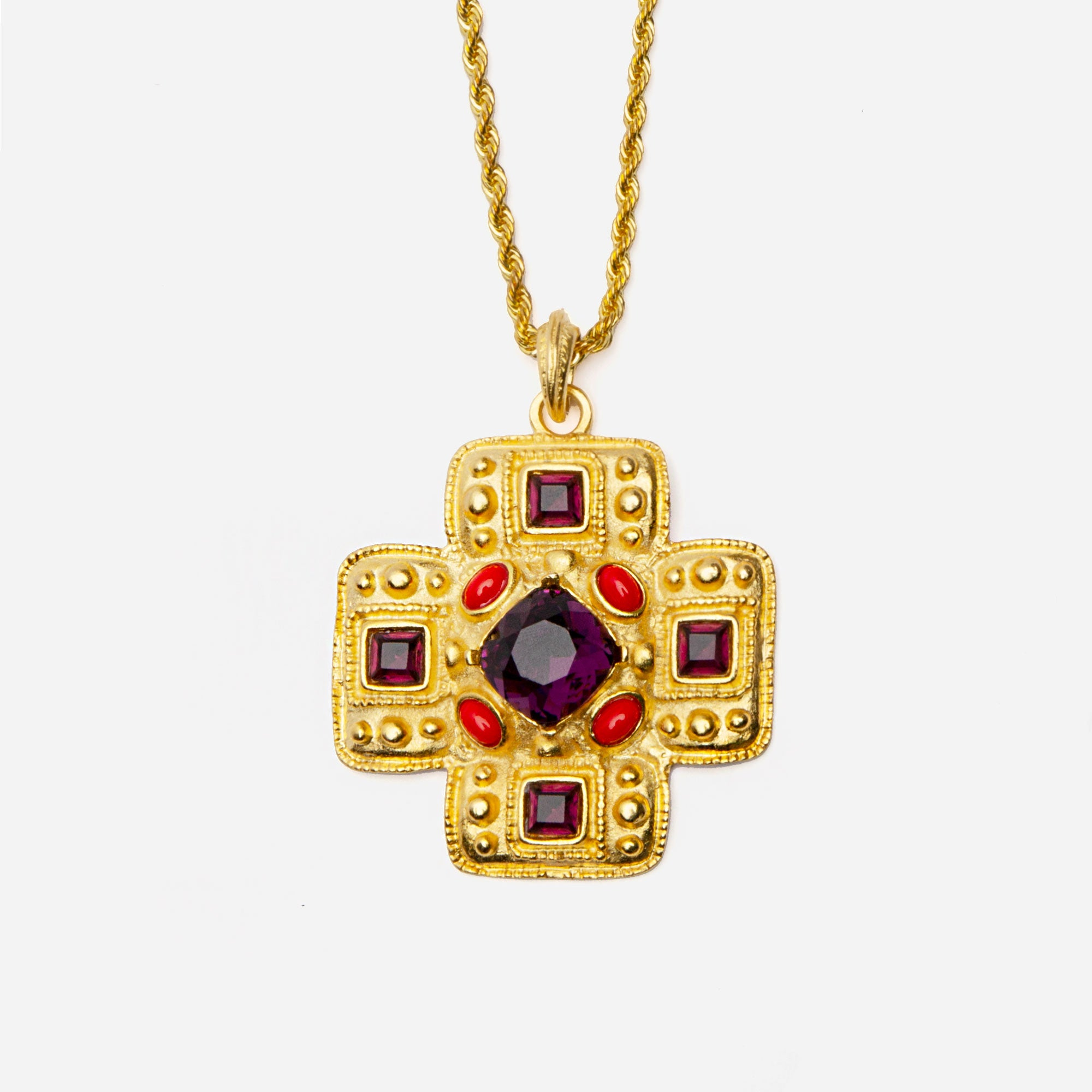 Gold Gem Cross Necklace
