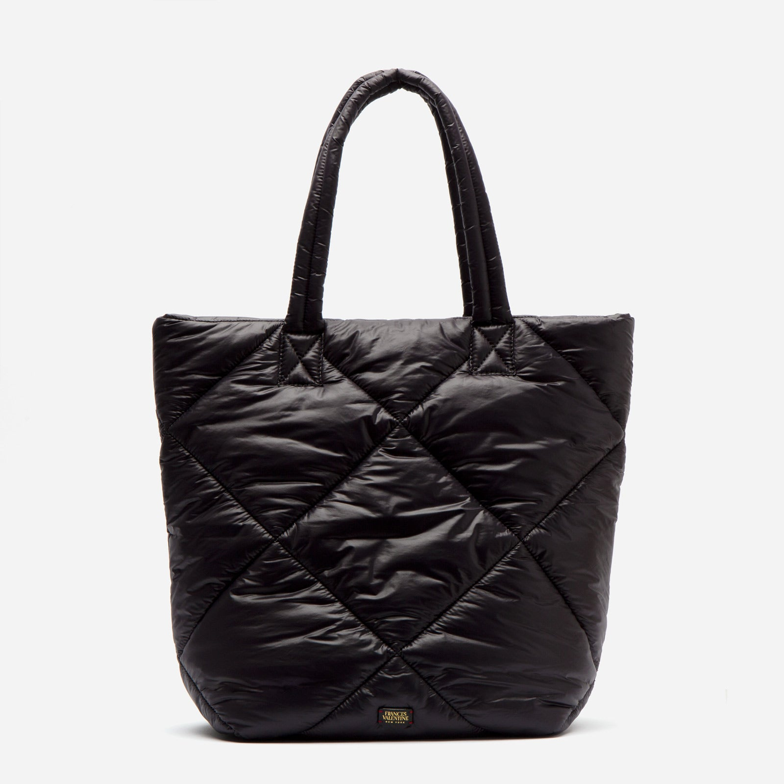 North South Tote Quilted Satin Nylon Black - Frances Valentine