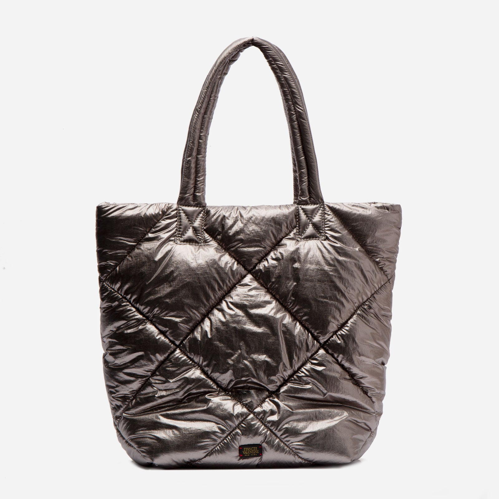 North South Tote Quilted Satin Nylon Silver - Frances Valentine