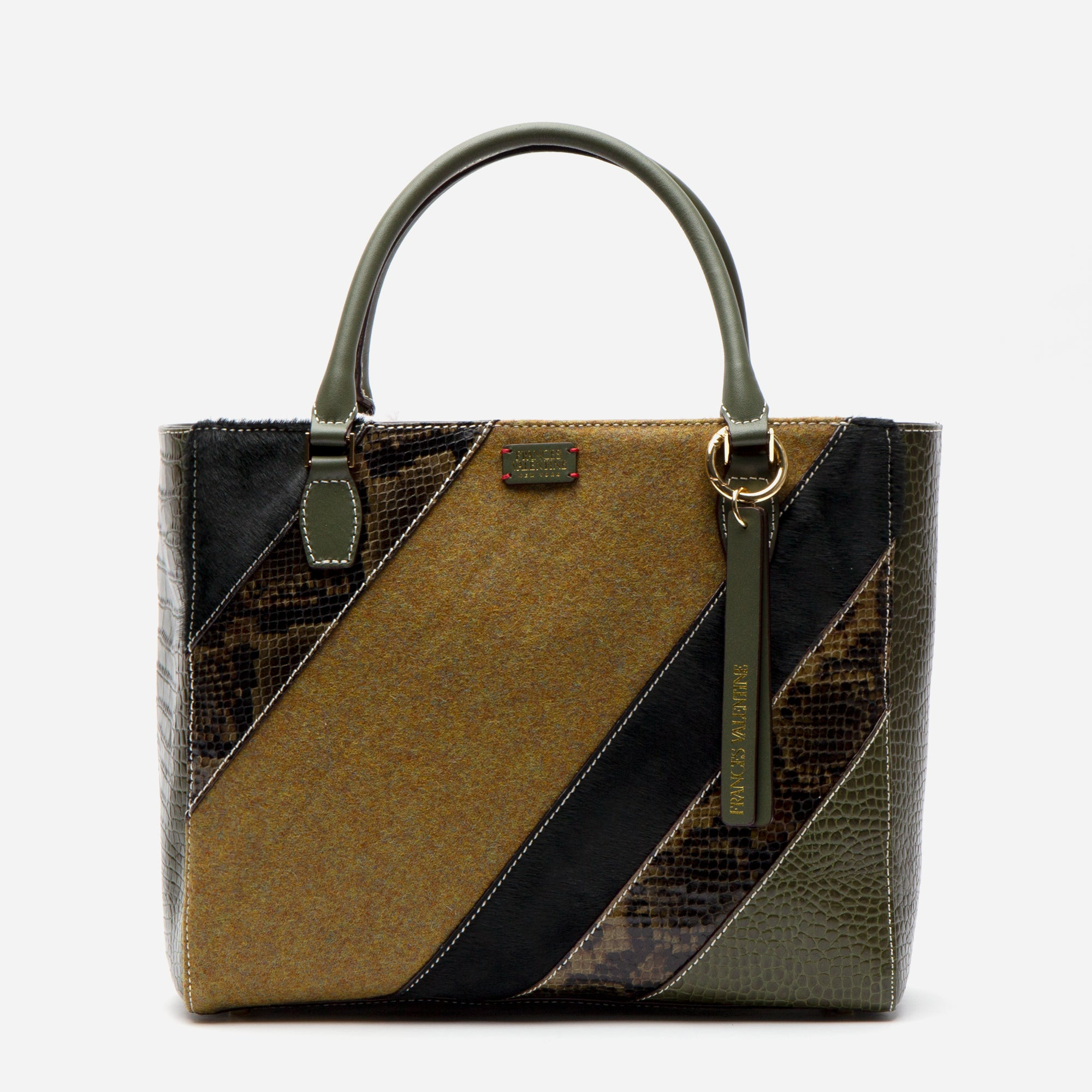 Olivia Mixed Media Tote Olive - Frances Valentine