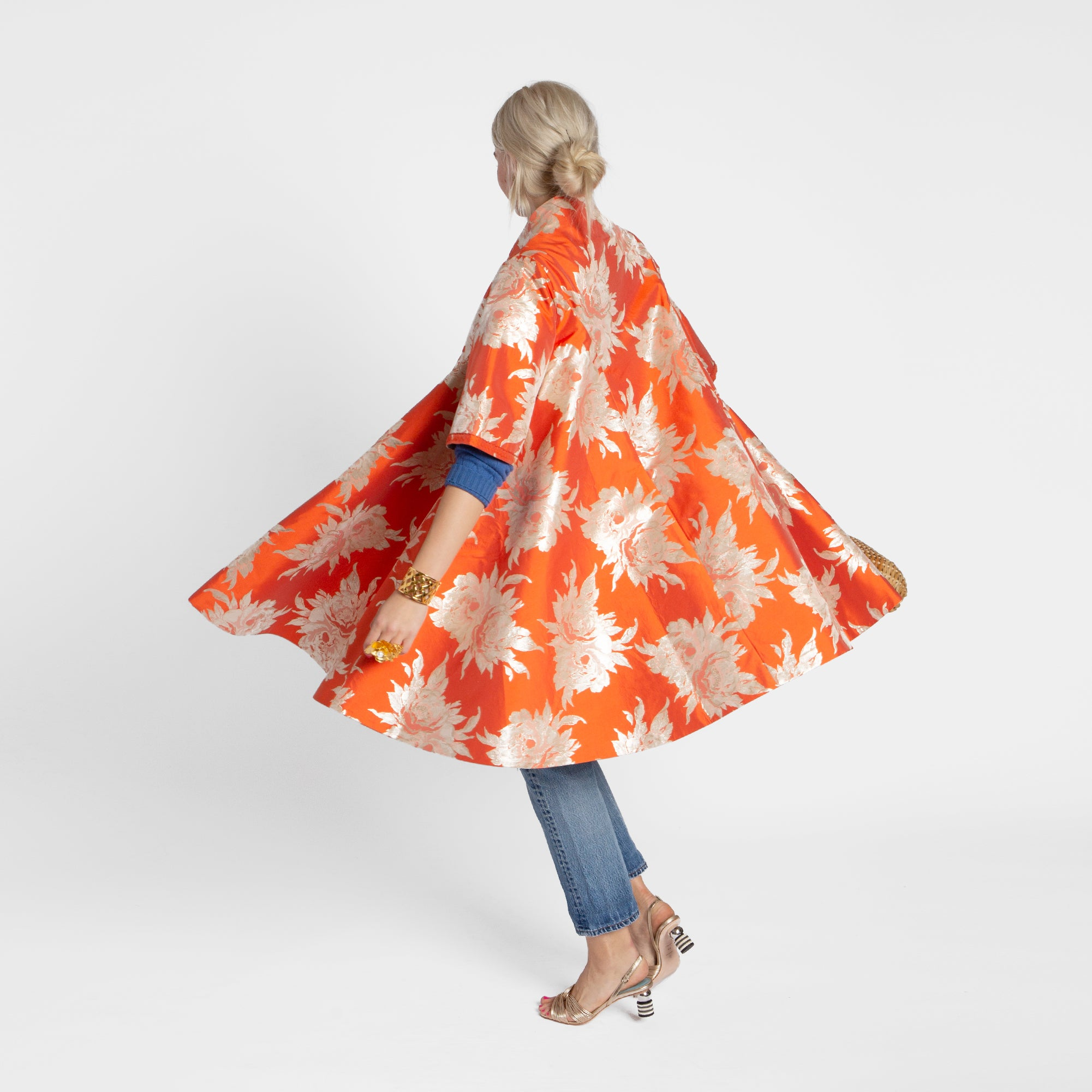 Metallic Jacquard Swing Coat Orange - Frances Valentine