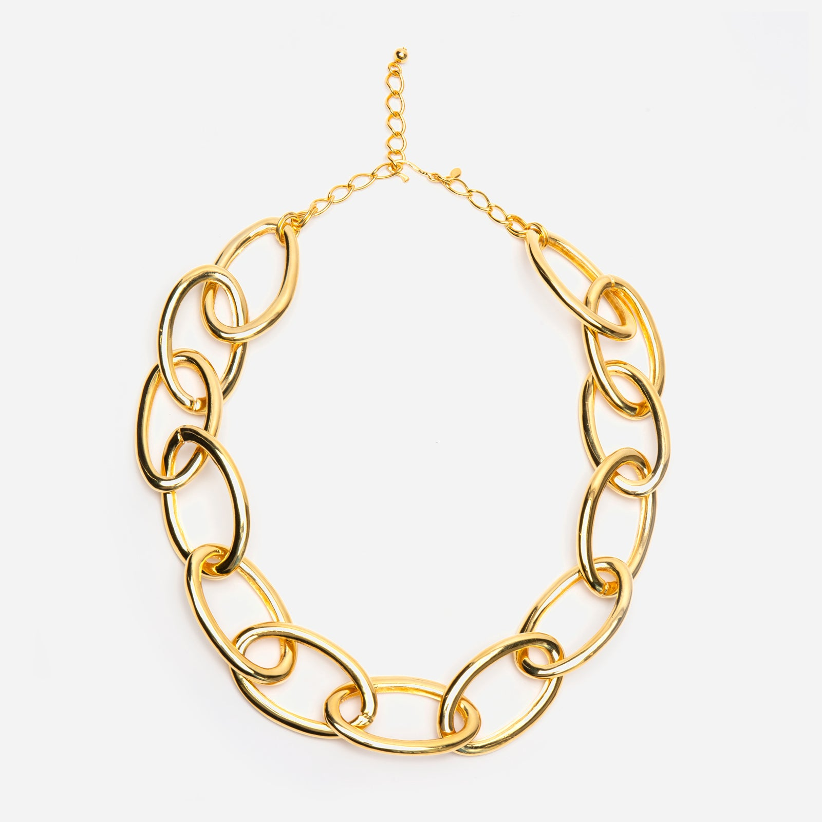 Gold Large Oval Link Necklace