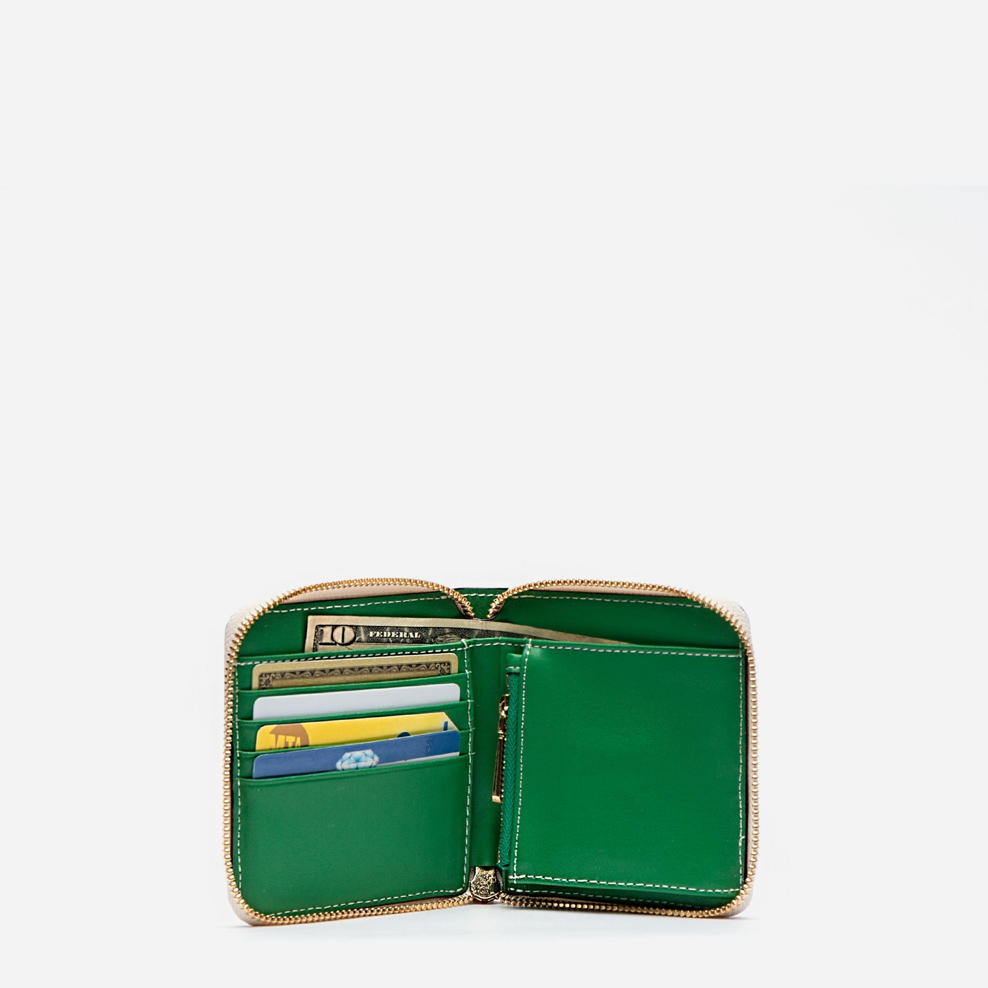 Roosevelt Small Zip Wallet Oyster Green