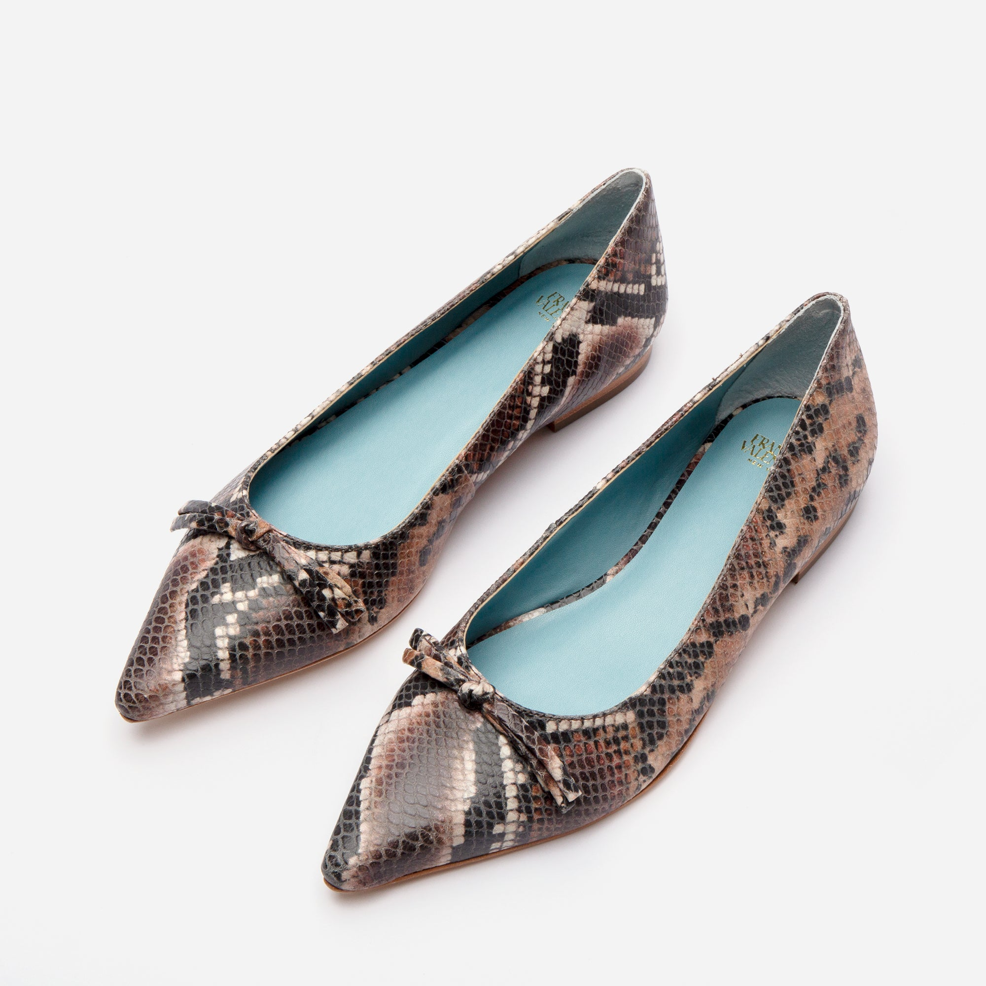 Paige Bow Flats Printed Snake Chocolate