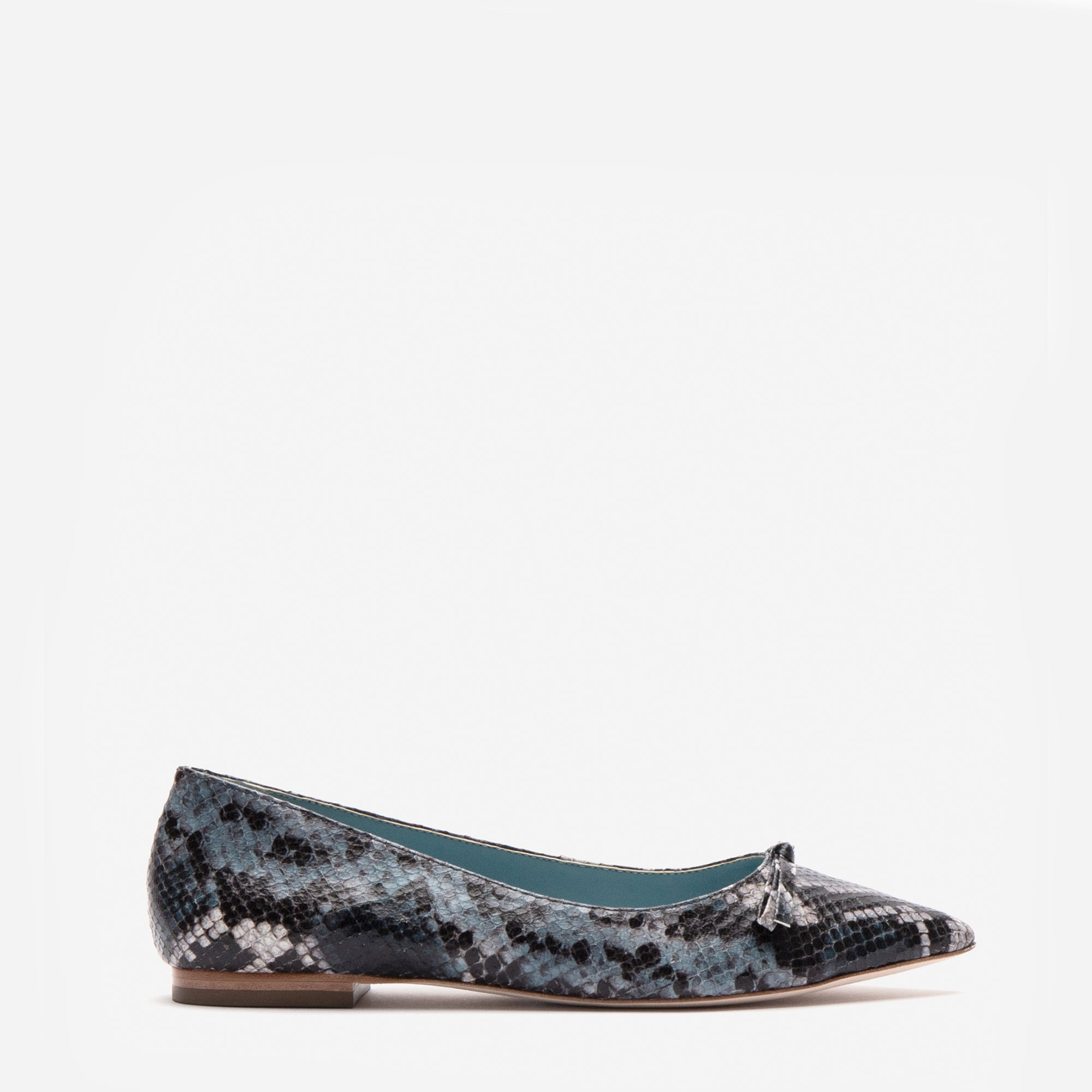 Paige Bow Flats Printed Snake Navy - Frances Valentine