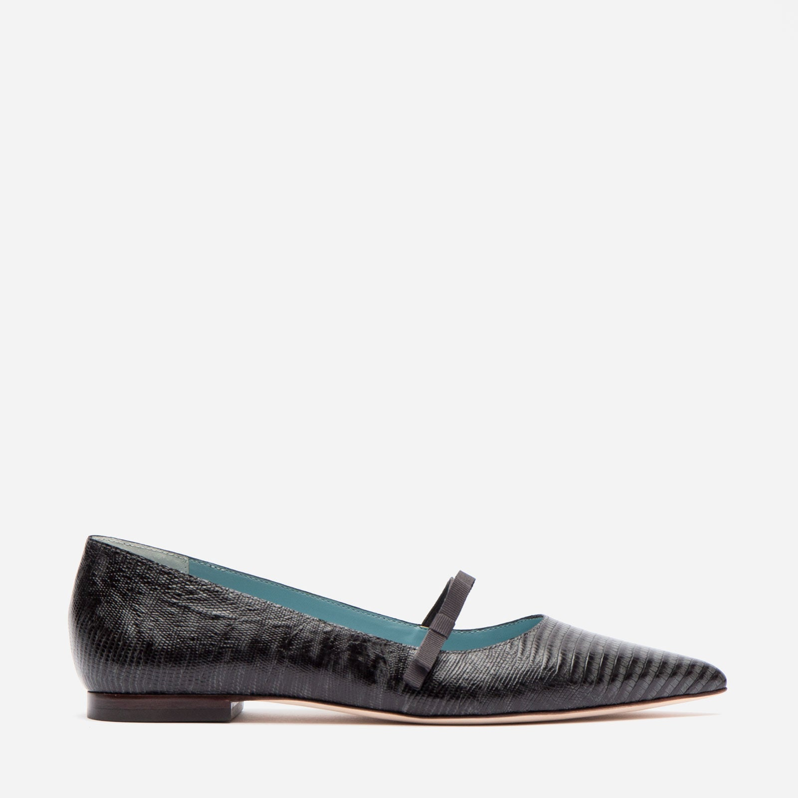 Pamela Mary Jane Flat Lizard Embossed Grey