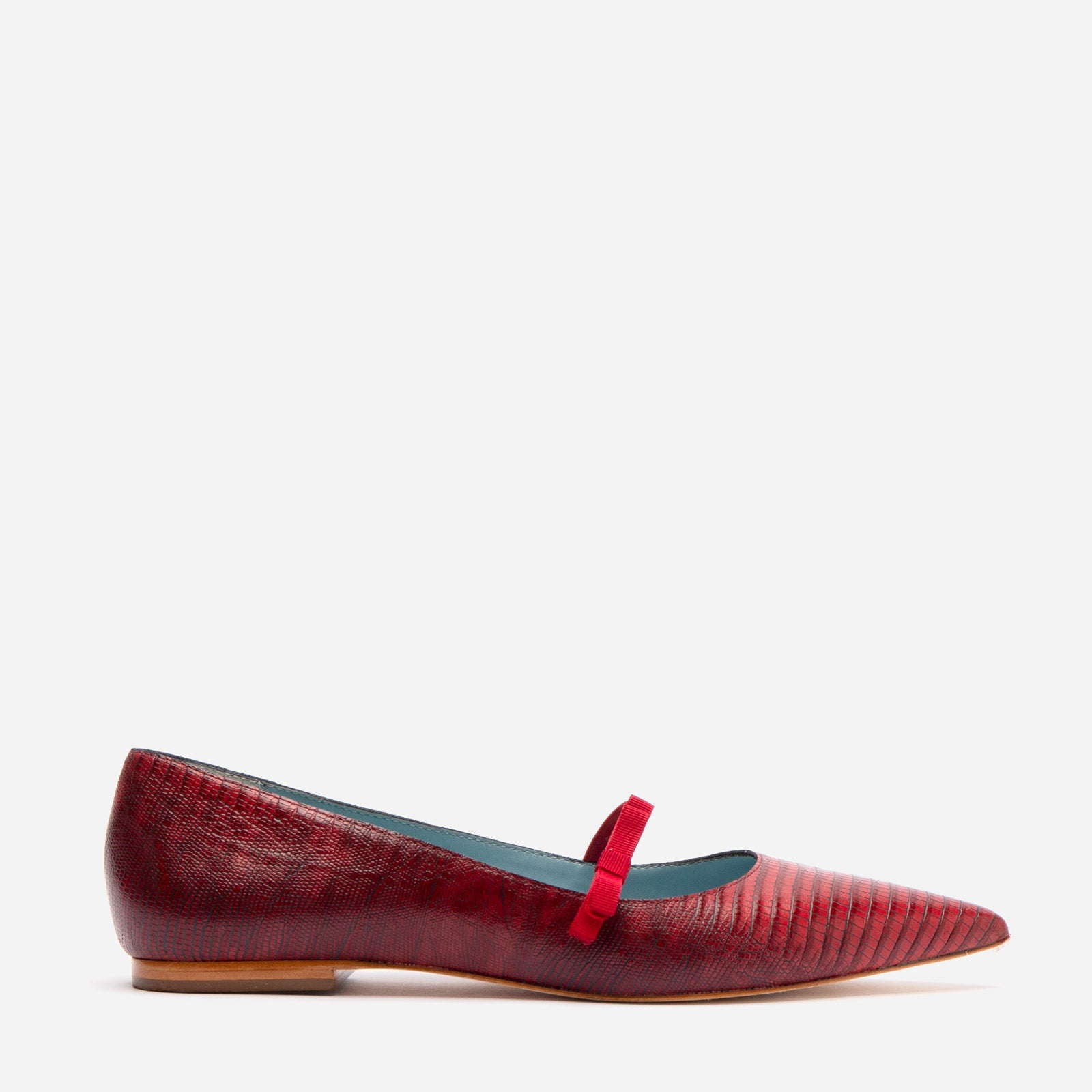 Pamela Mary Jane Flat Lizard Embossed Red - Frances Valentine