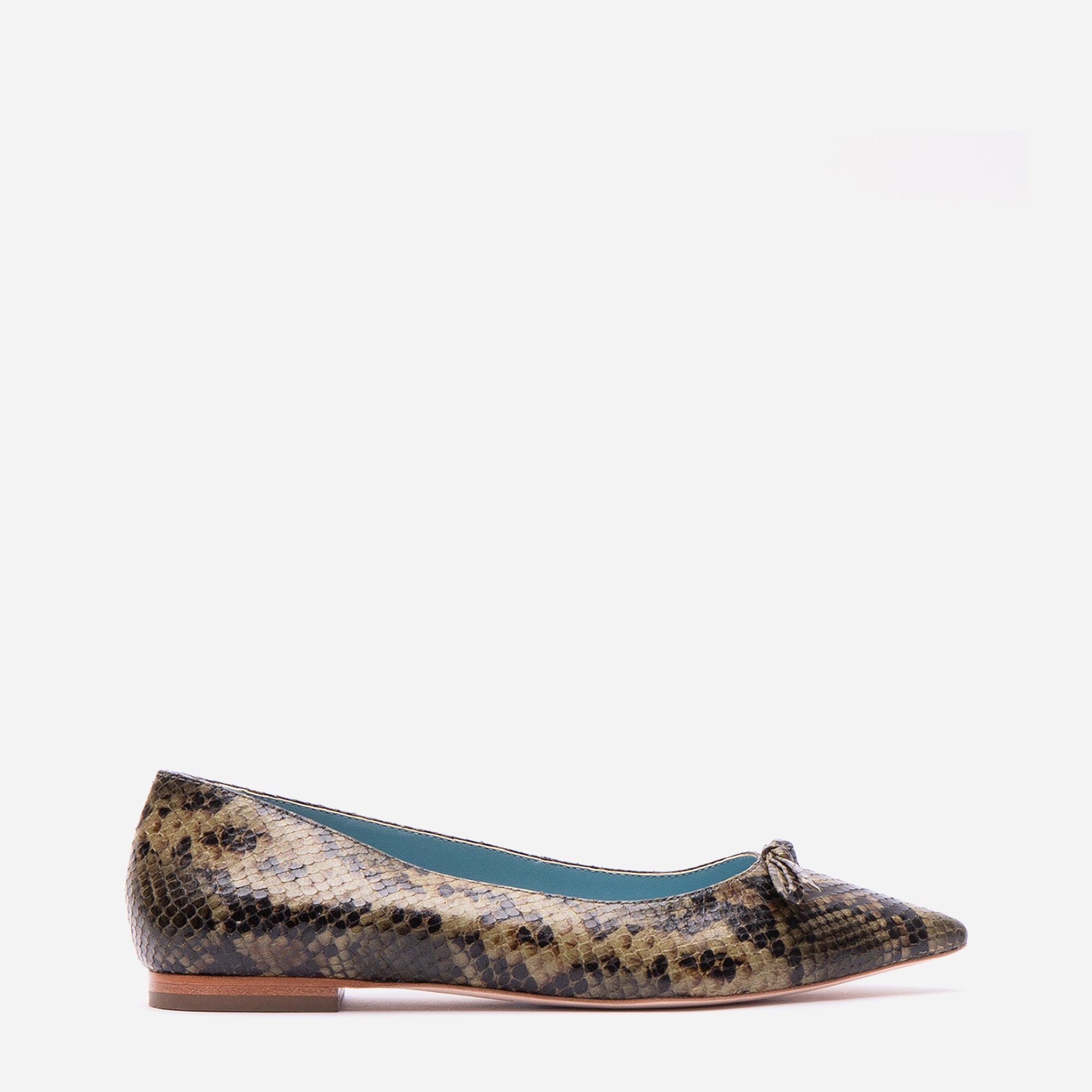 Paige Bow Flats Printed Snake Olive