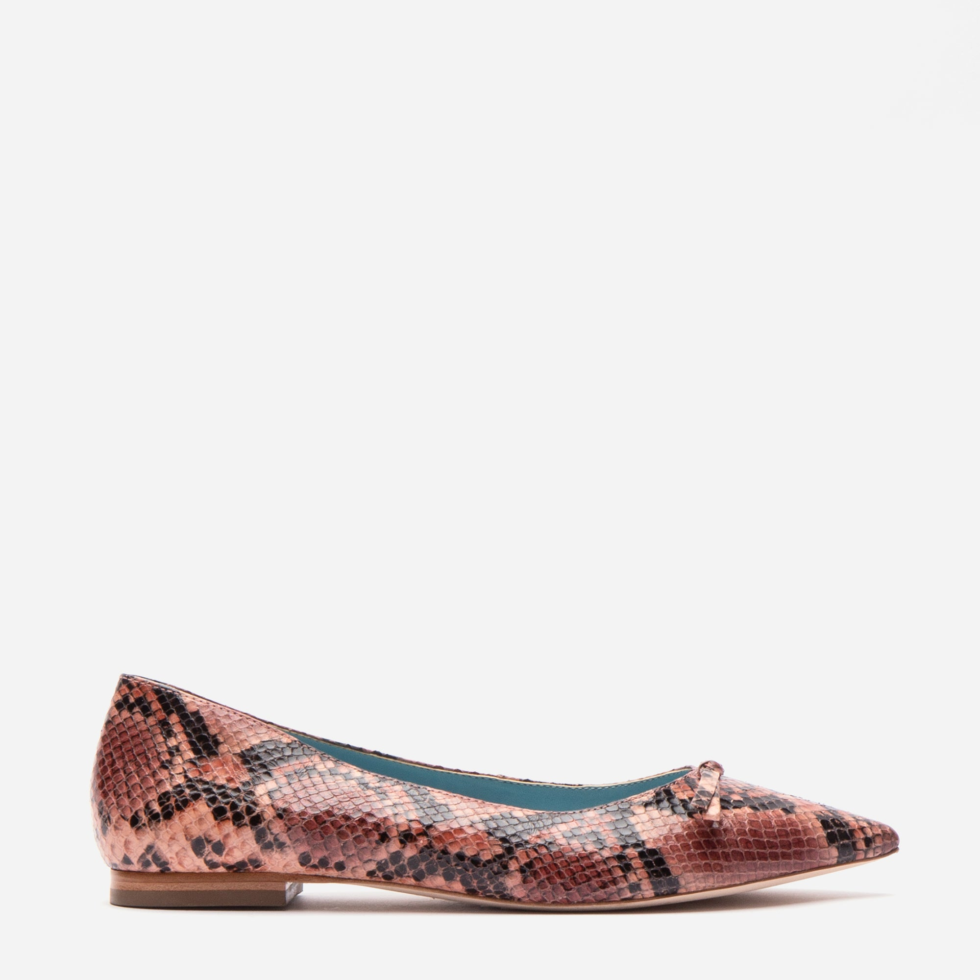 Paige Bow Flats Printed Snake Pink