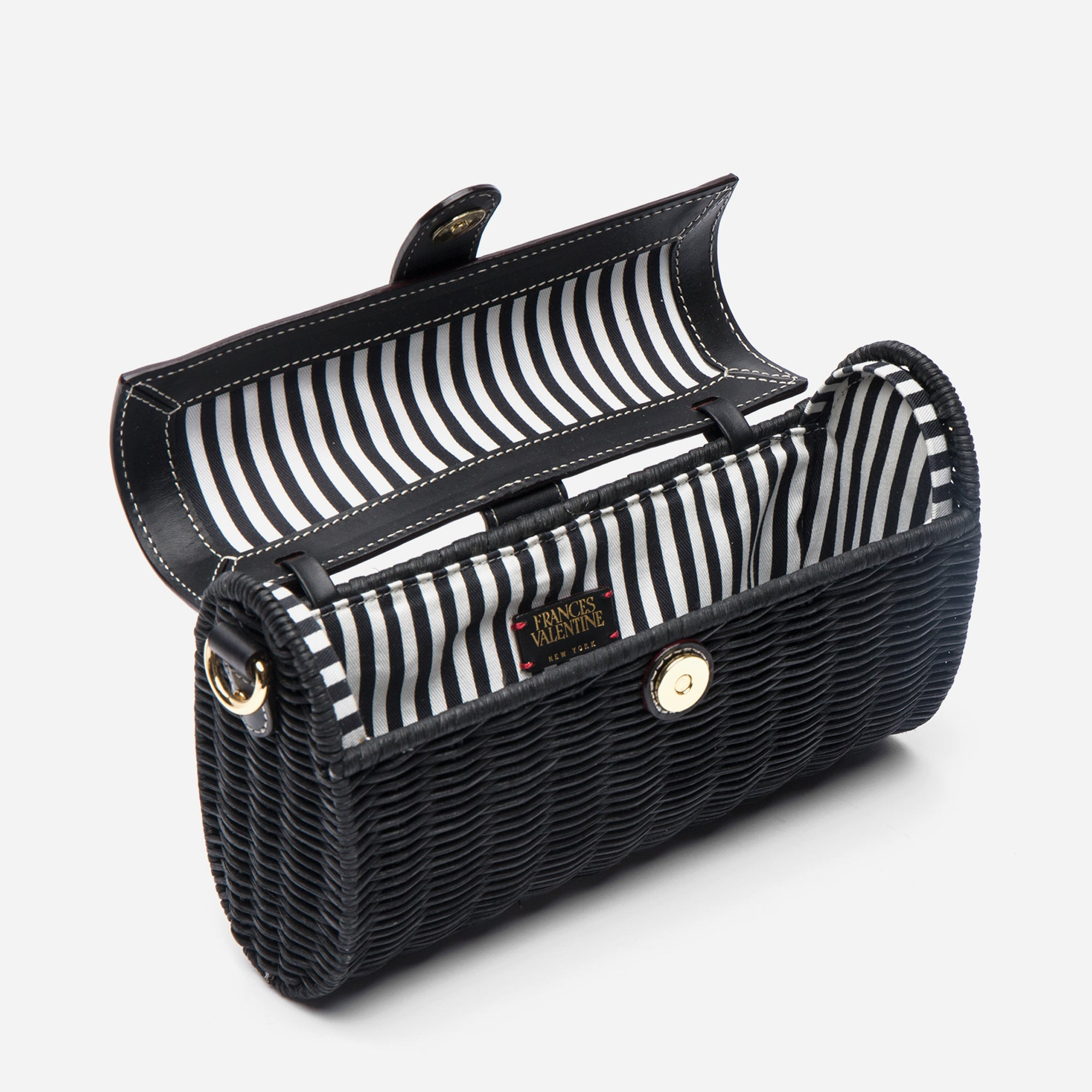 Betsy Wicker Basket Bag Black