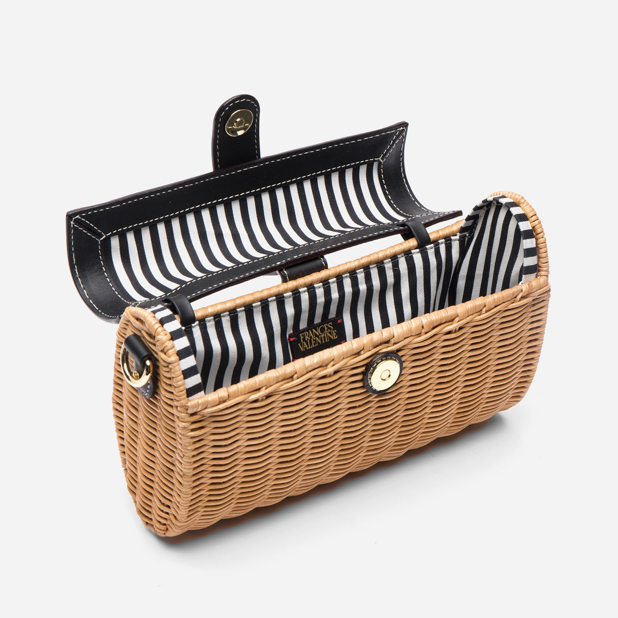 Betsy Wicker Basket Bag Natural Black