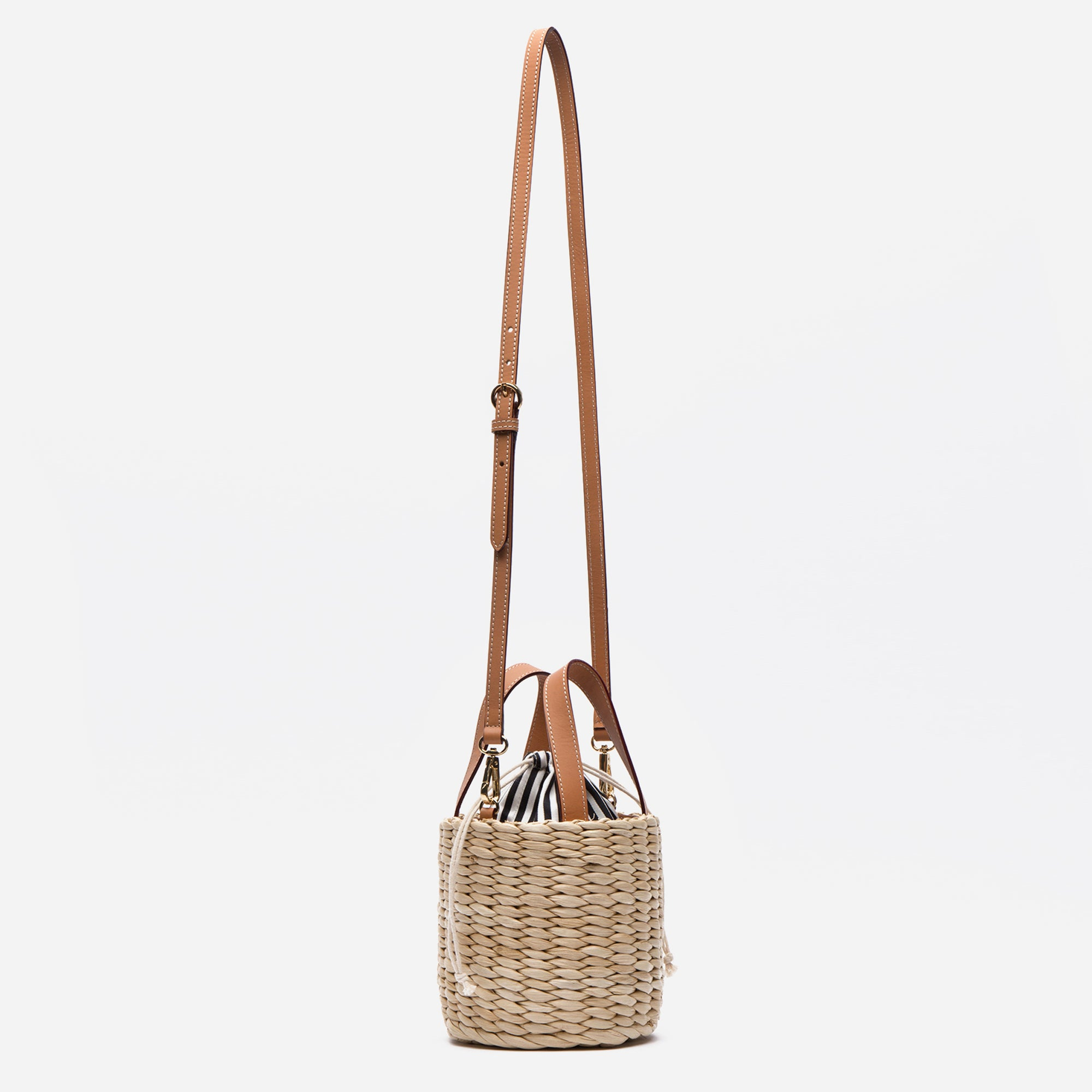 Small Woven Bucket Basket Bag