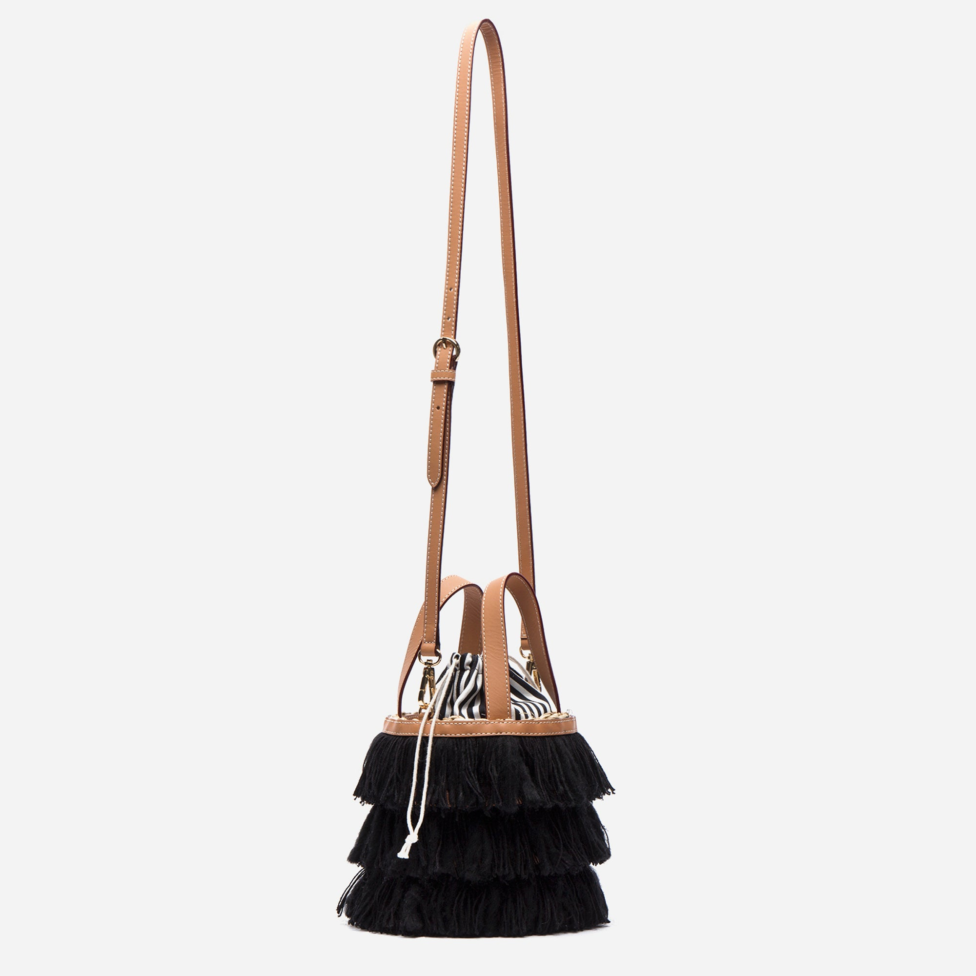 Small Black Fringe Bucket Bag