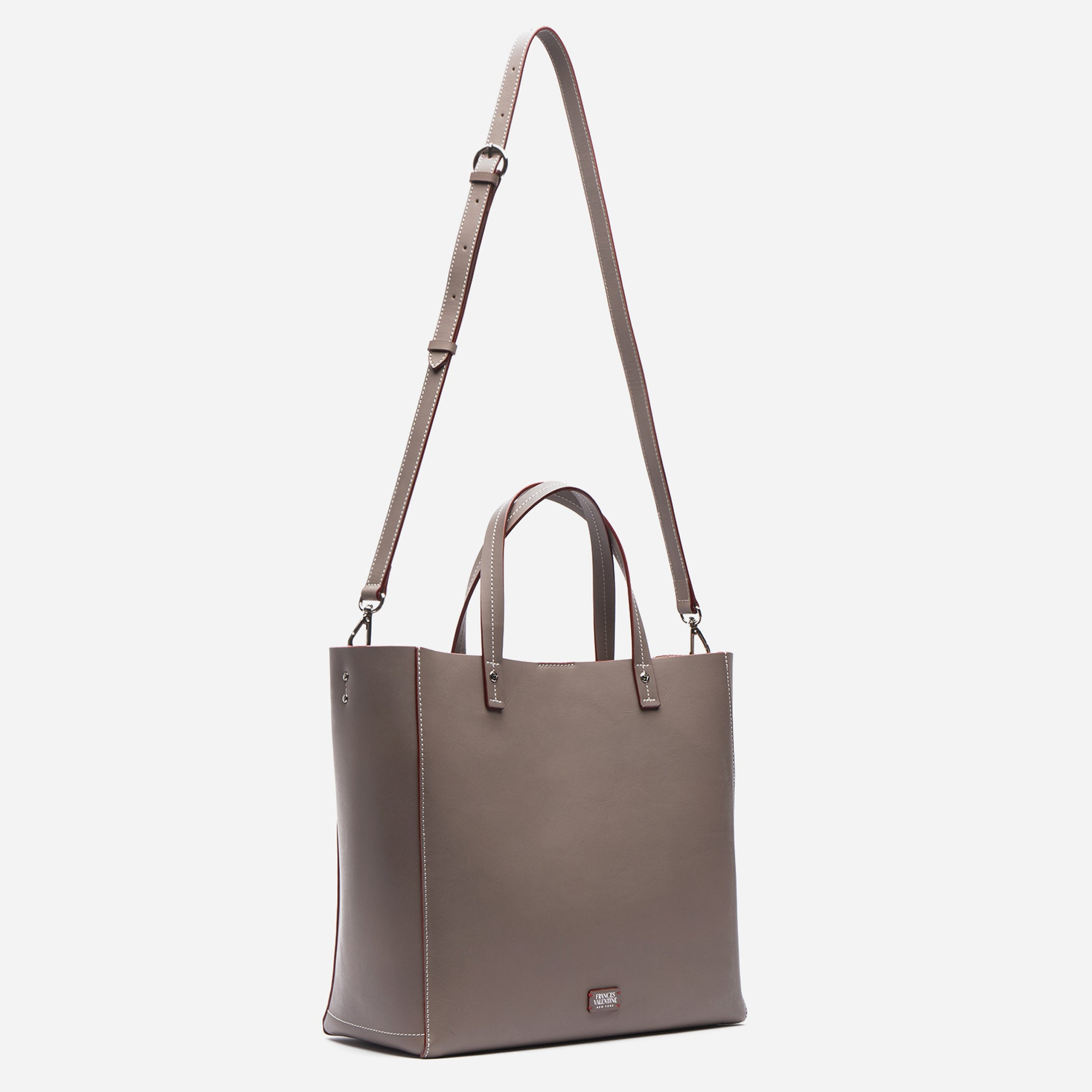 Large Margaret Leather Tote Grey