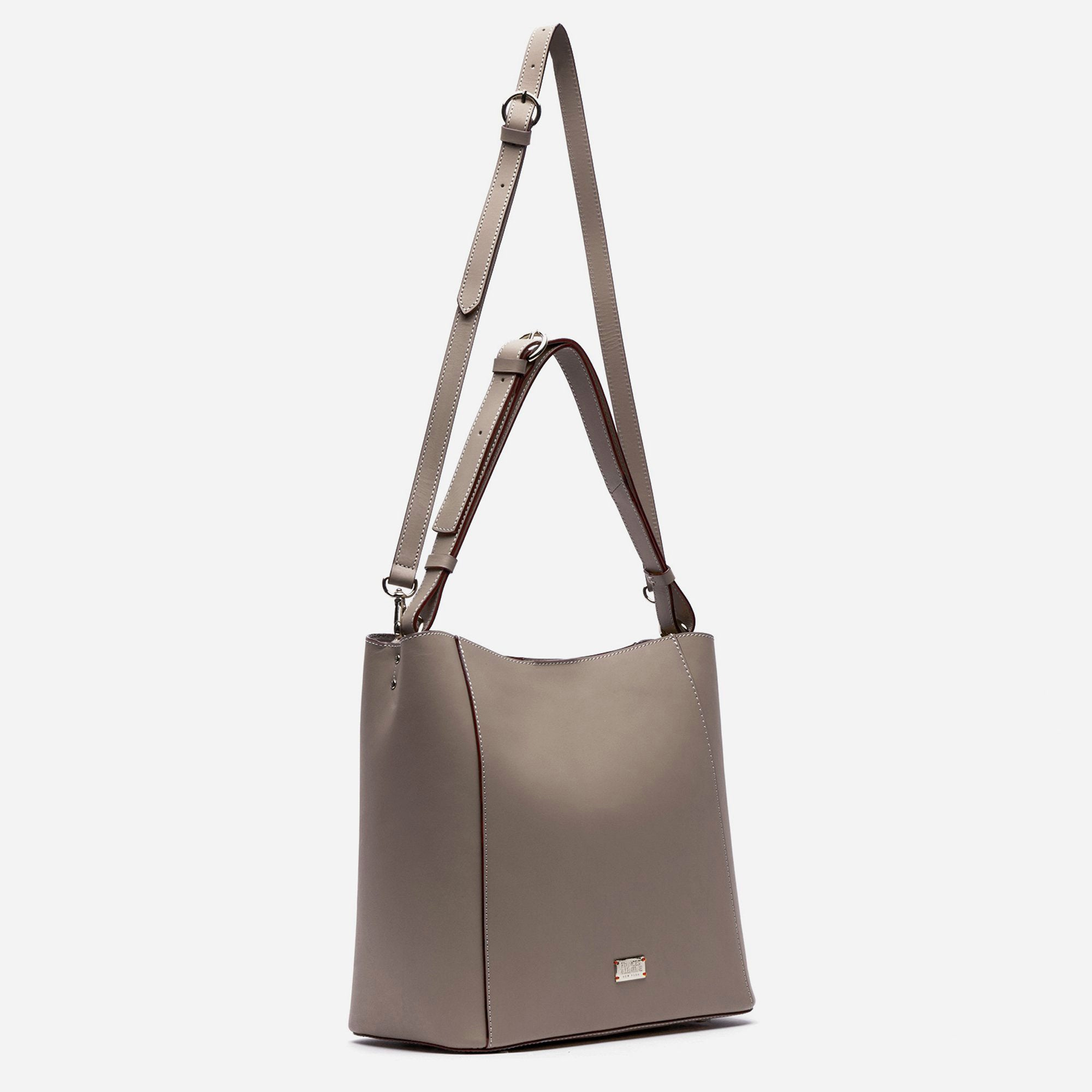 June Hobo Handbag Leather Grey
