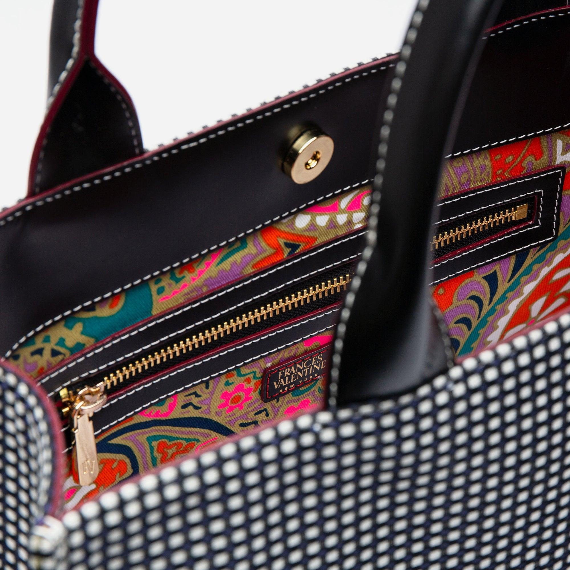 The Kate Top Handle Tote Dot Jacquard