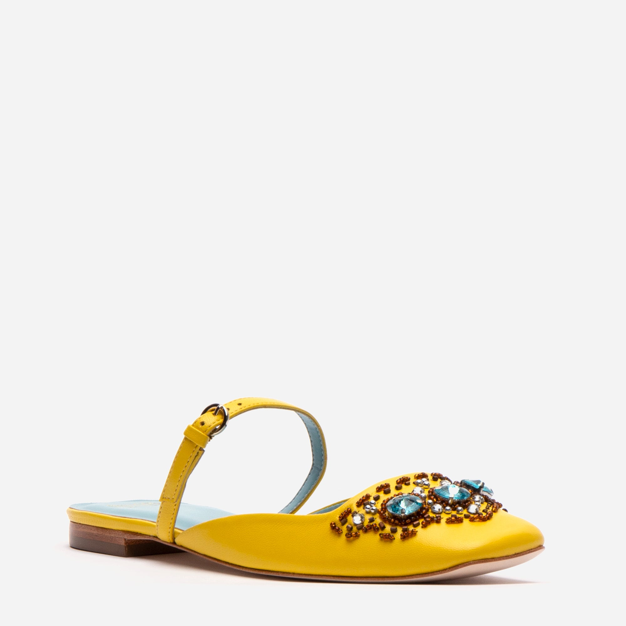Lynda Mules Jewel Embroidered Yellow