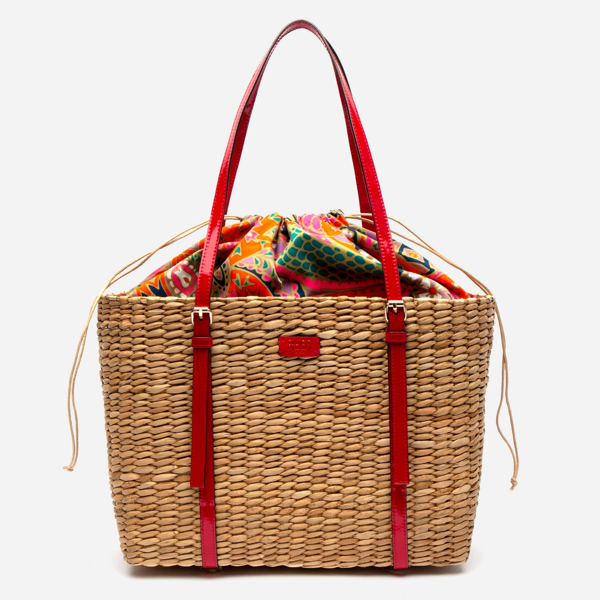 Large Woven Basket Tote Patent Red - Frances Valentine