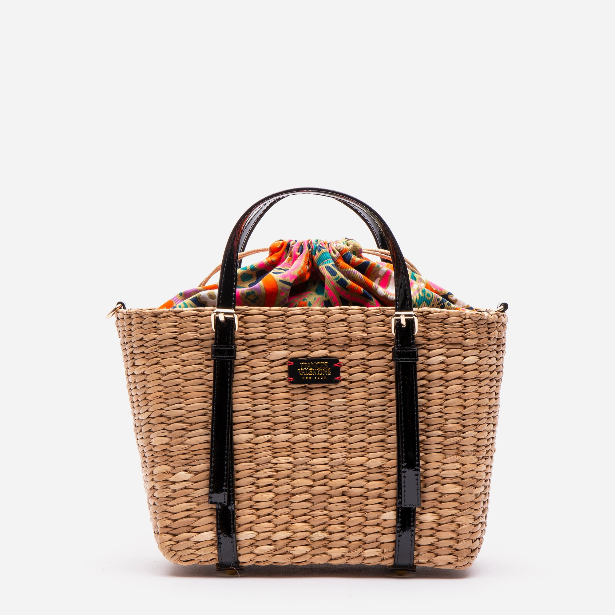 Small Woven Basket Tote Patent Black
