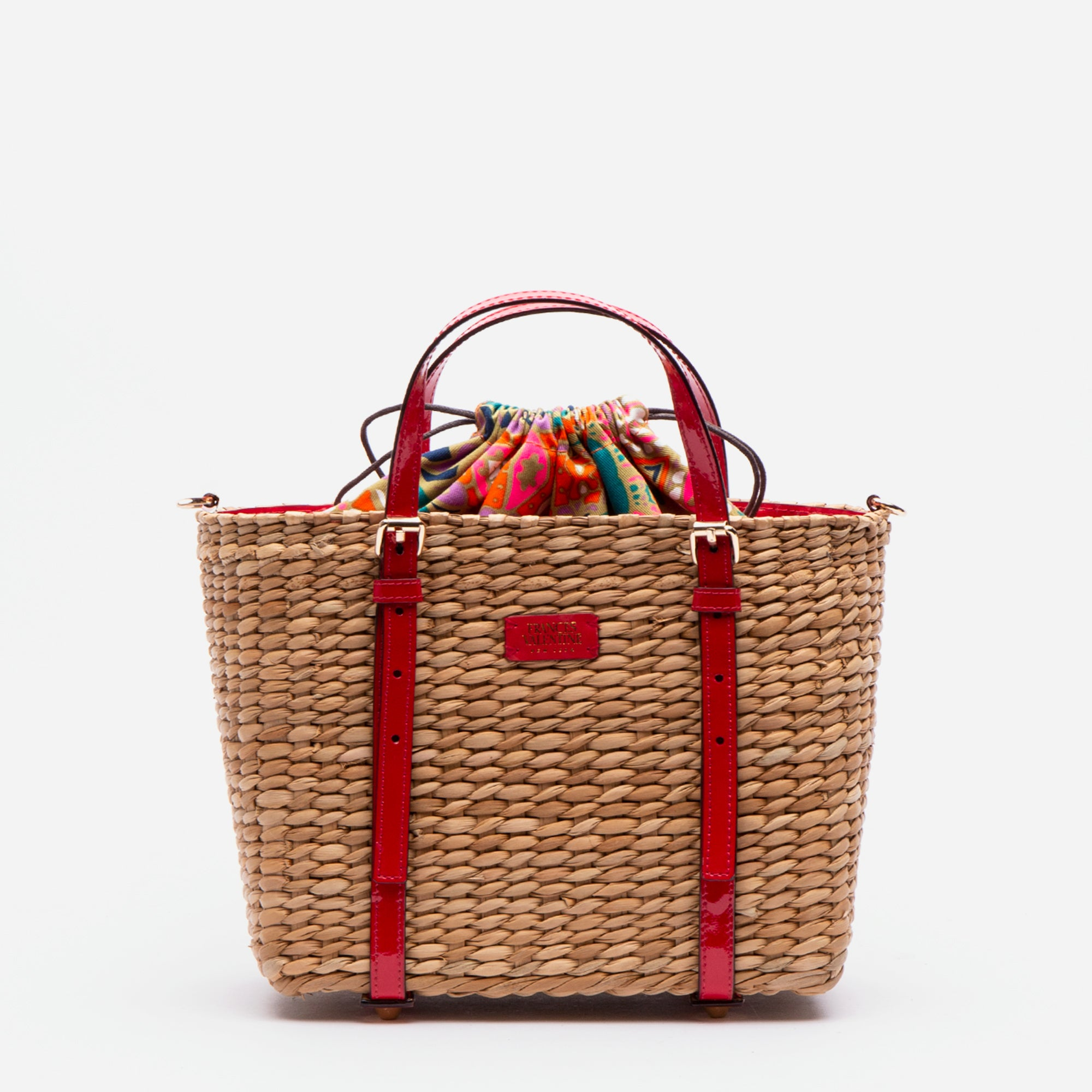 Small Woven Basket Tote Patent Red