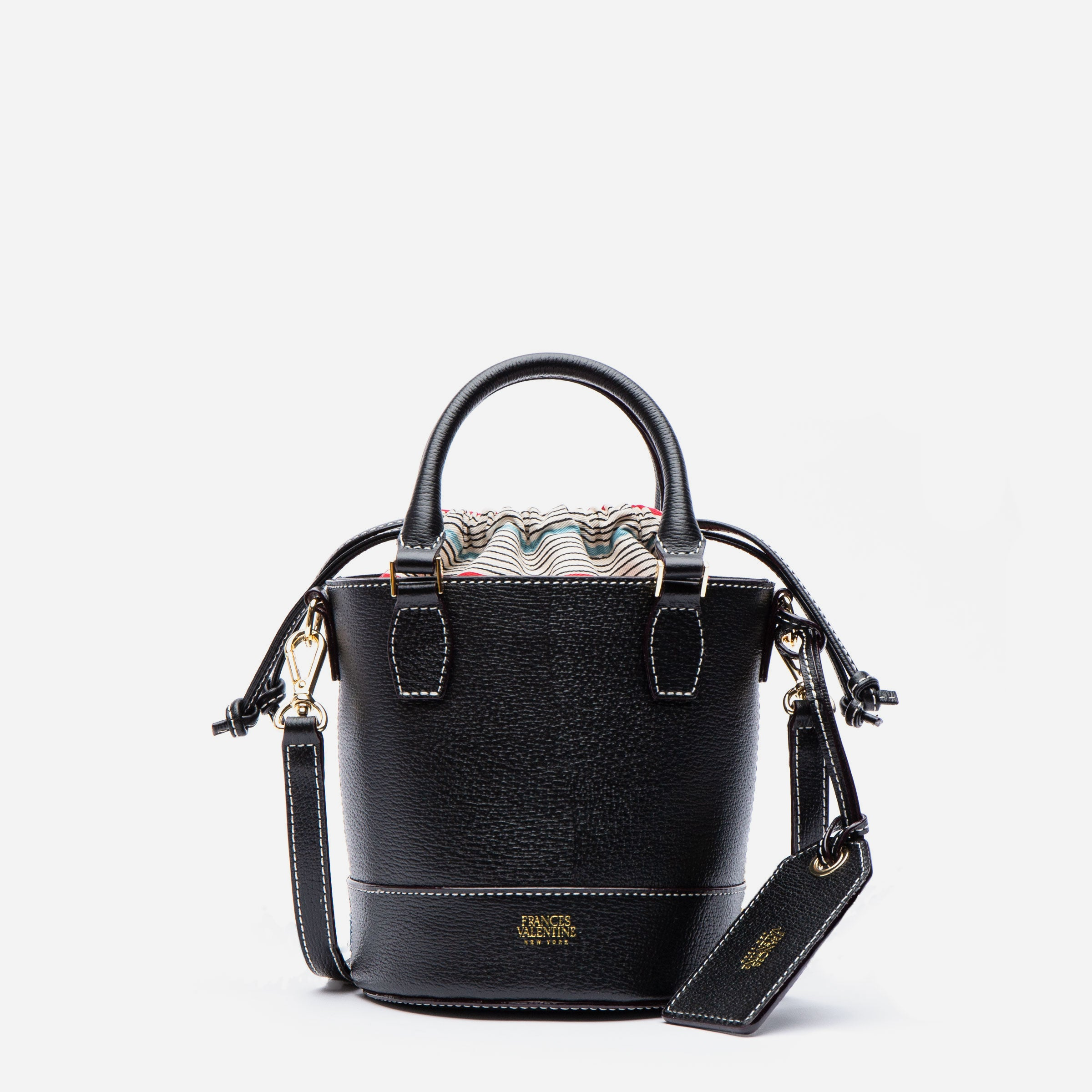 Small Bucket Bag Boarskin Black - Frances Valentine