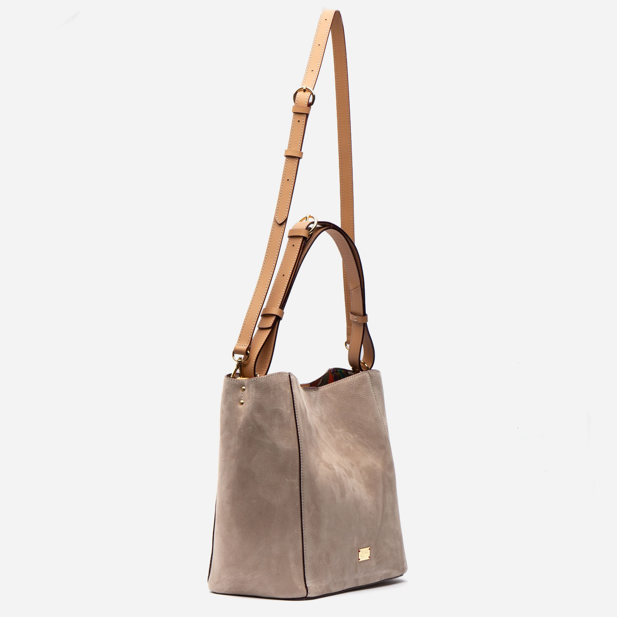 June Hobo Handbag Tumbled Nubuck Stone