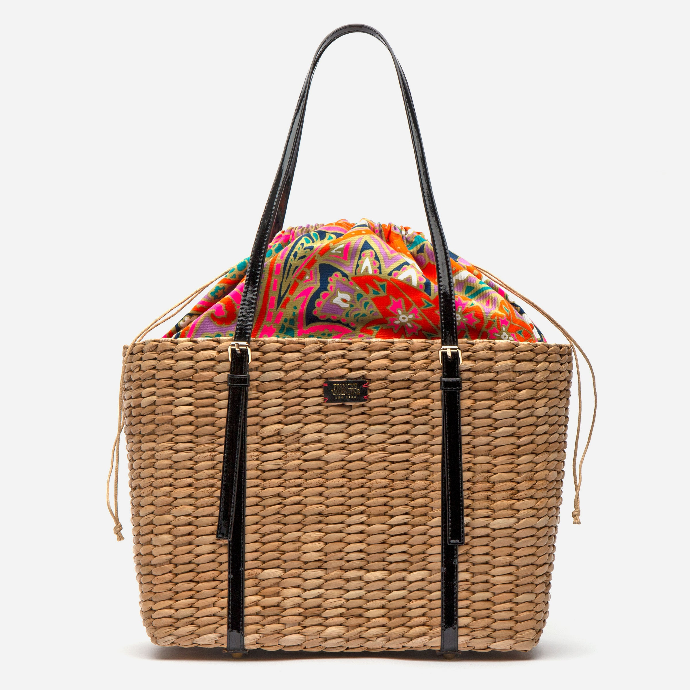 Large Woven Basket Tote Patent Black