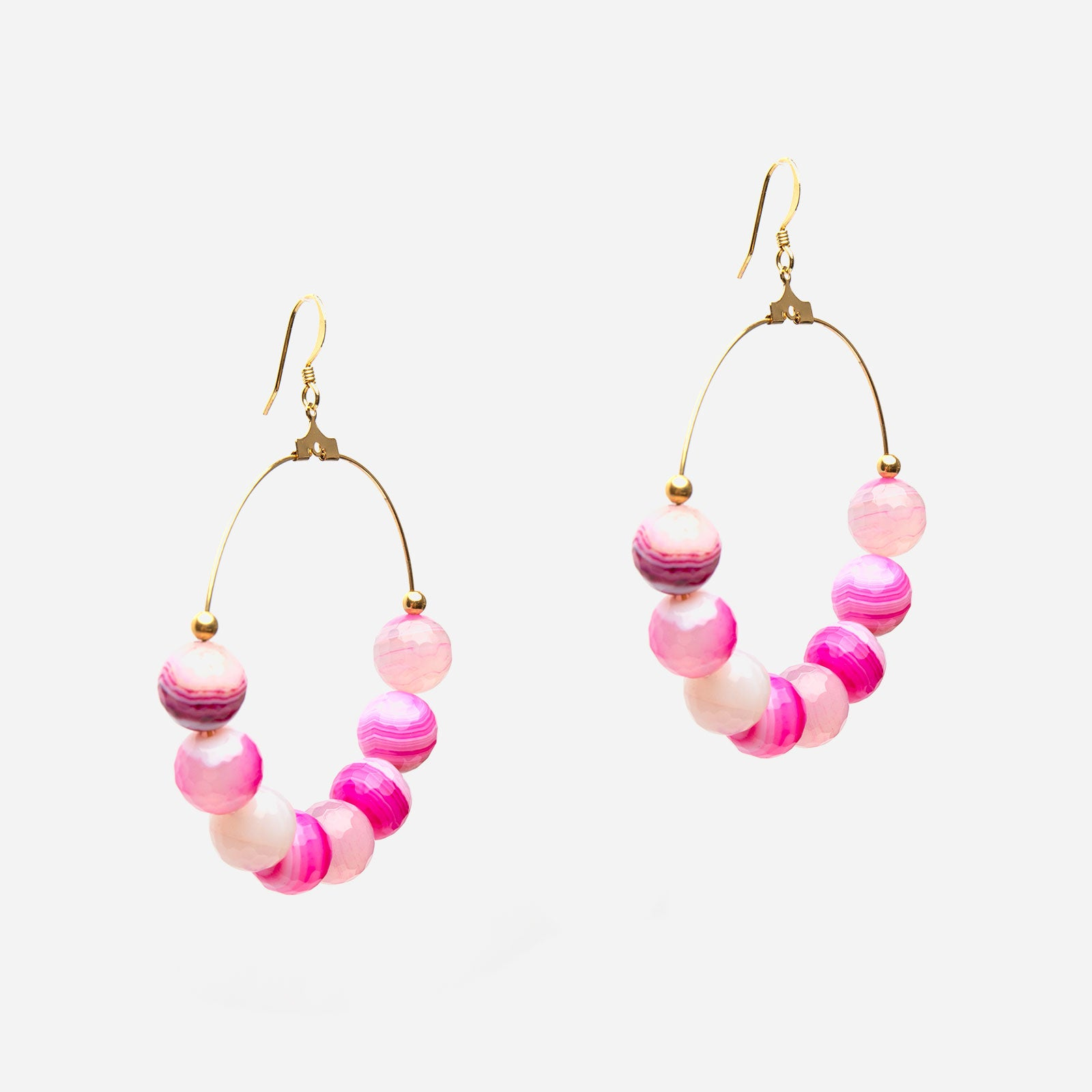 Cherry Agate Bead Hoop Earrings