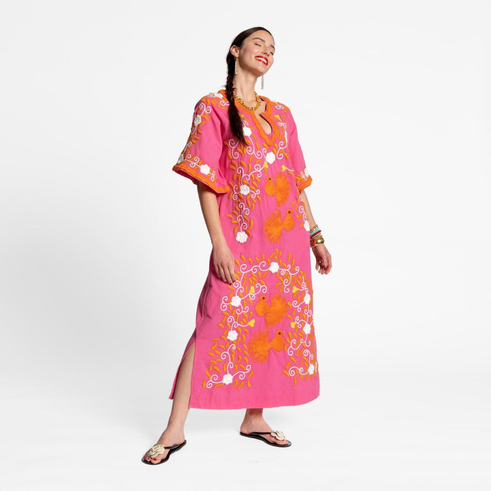 Peacock Caftan Dress Pink Coral Yellow - Frances Valentine