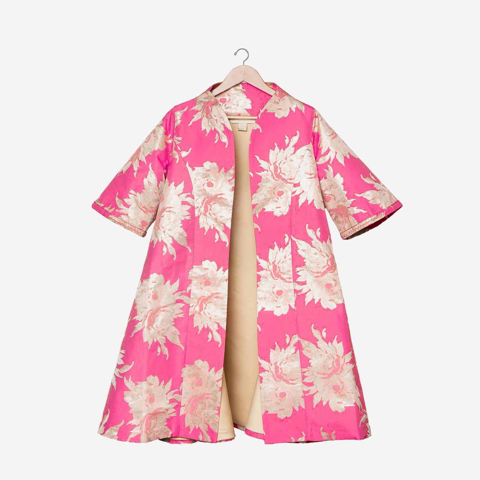Metallic Jacquard Swing Coat Pink
