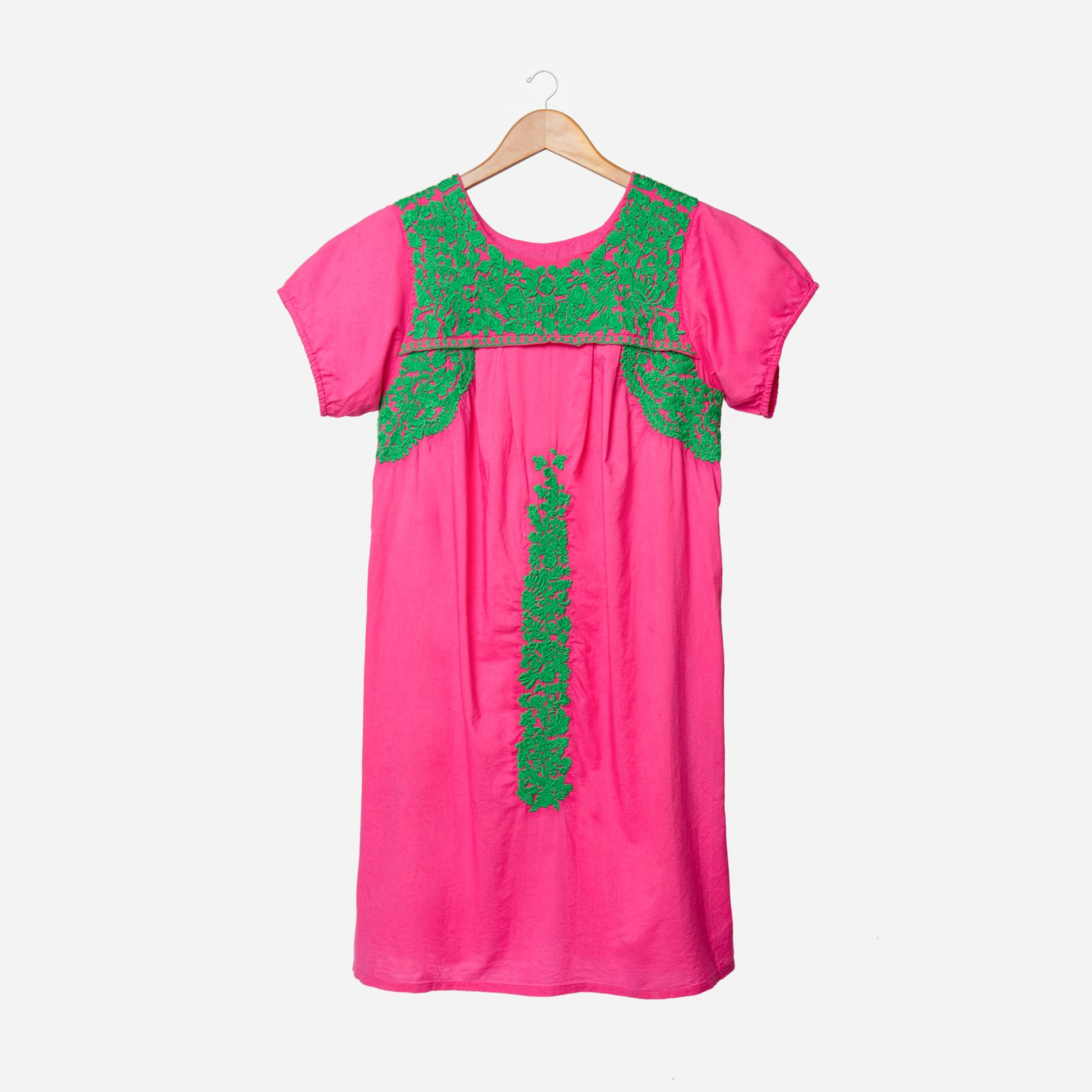 Floral Embroidered Lace Dress Pink Green - Frances Valentine