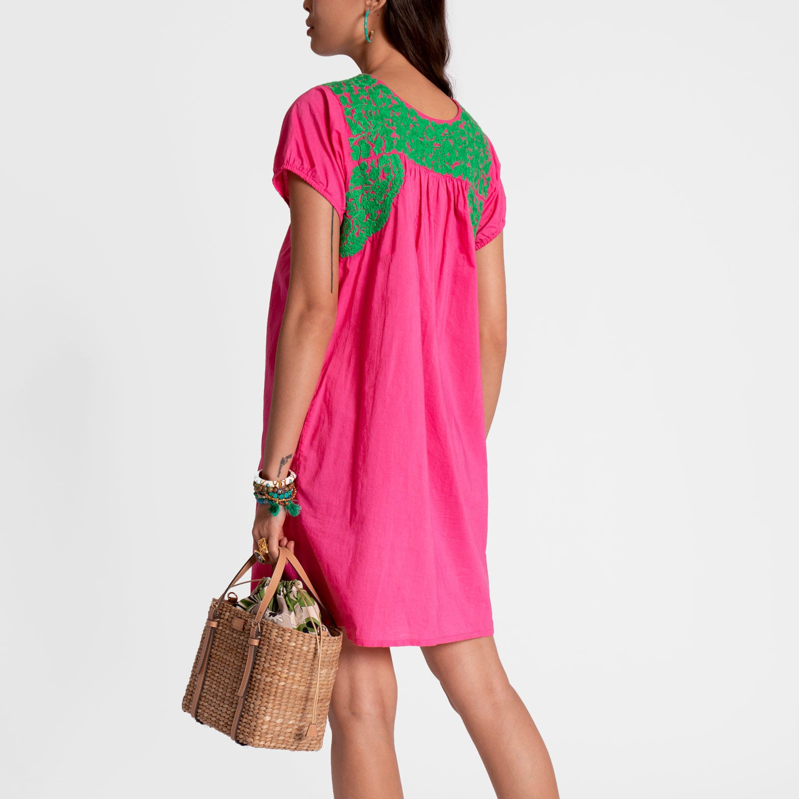 Floral Embroidered Lace Dress Pink Green
