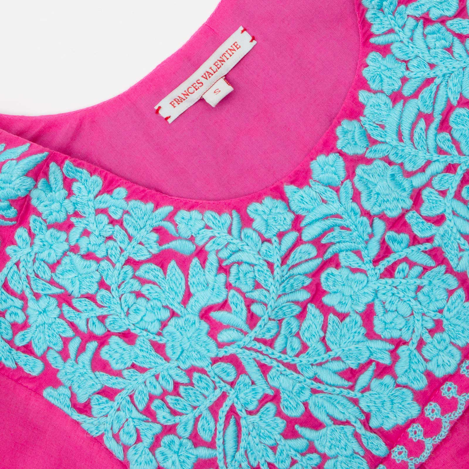 Floral Embroidered Lace Top Pink Light Blue