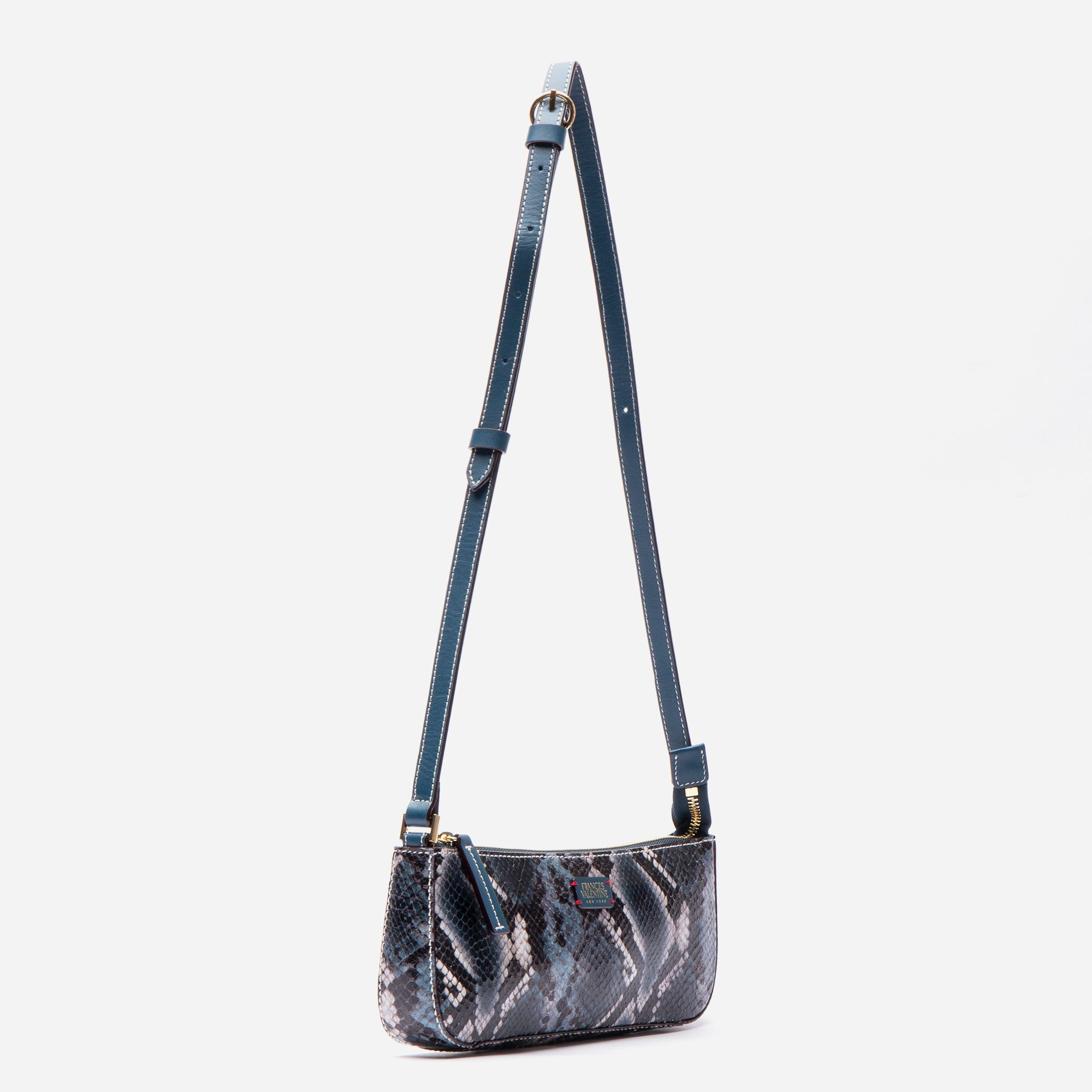 Pip Shoulder Bag Snake Embossed Blue