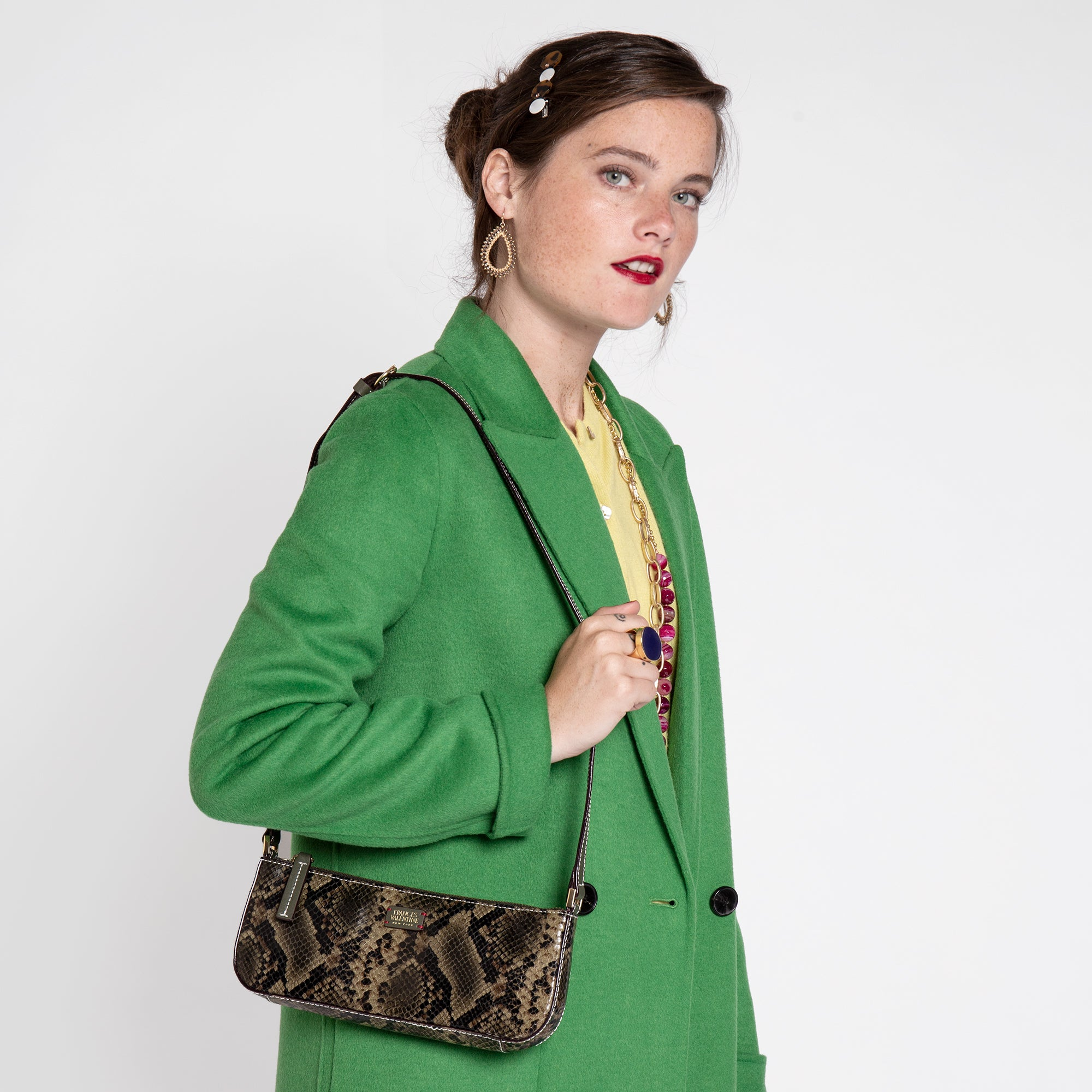 Pip Shoulder Bag Snake Embossed Olive