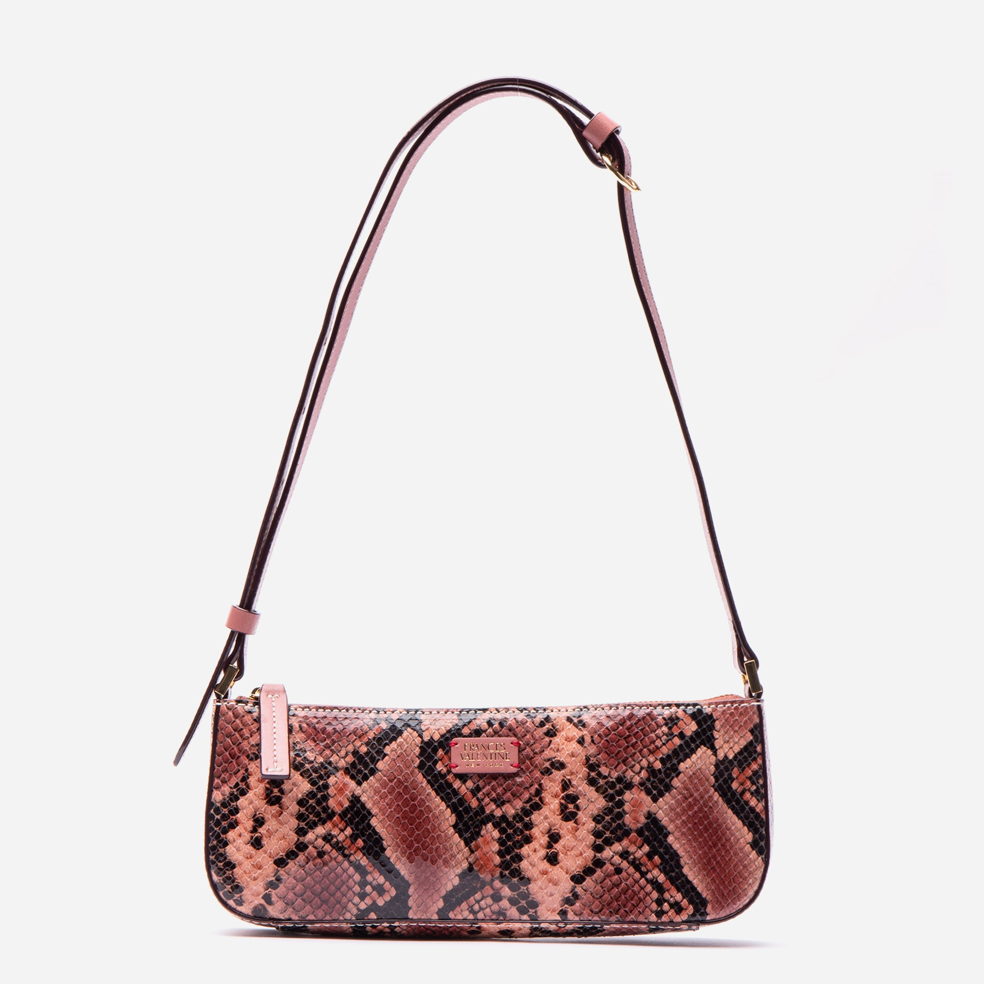 Pip Shoulder Bag Snake Embossed Pink