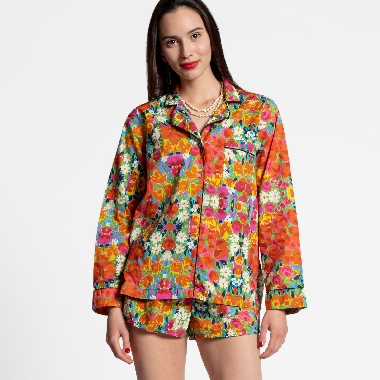 Teddy Pajama Top Bright Floral