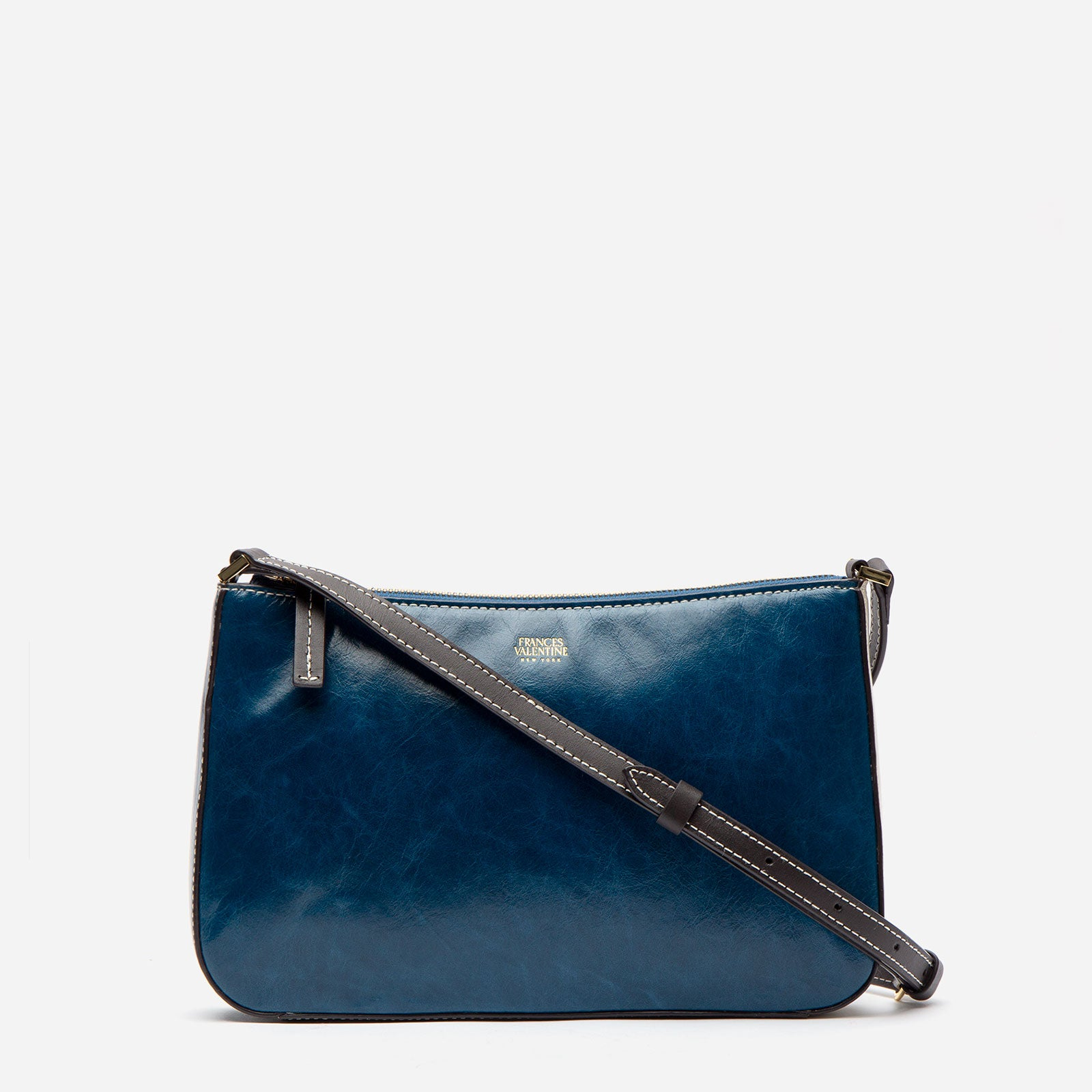Poppy Crossbody Naplak Leather Navy Oyster - Frances Valentine