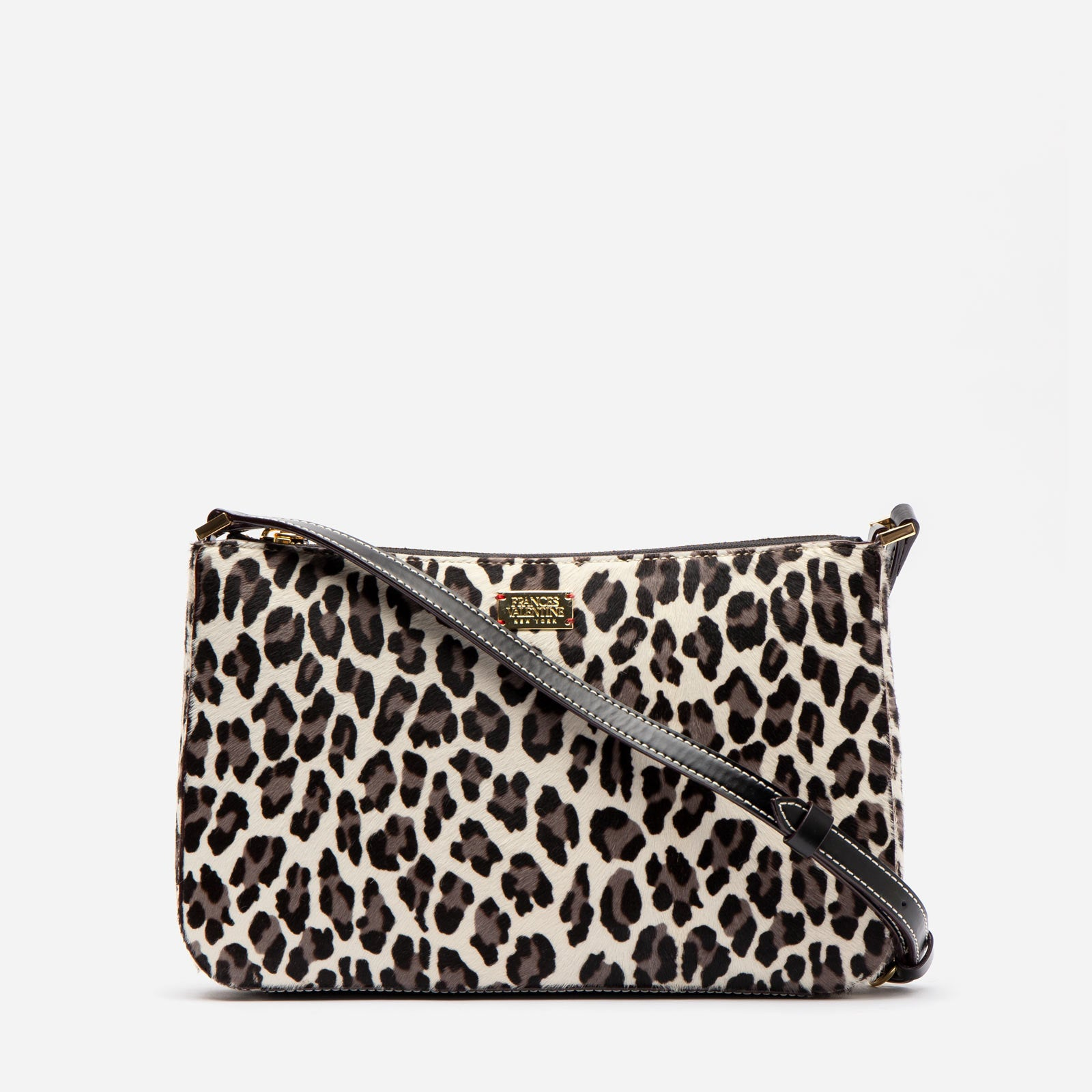 Poppy Crossbody Printed Haircalf Snow Leopard - Frances Valentine