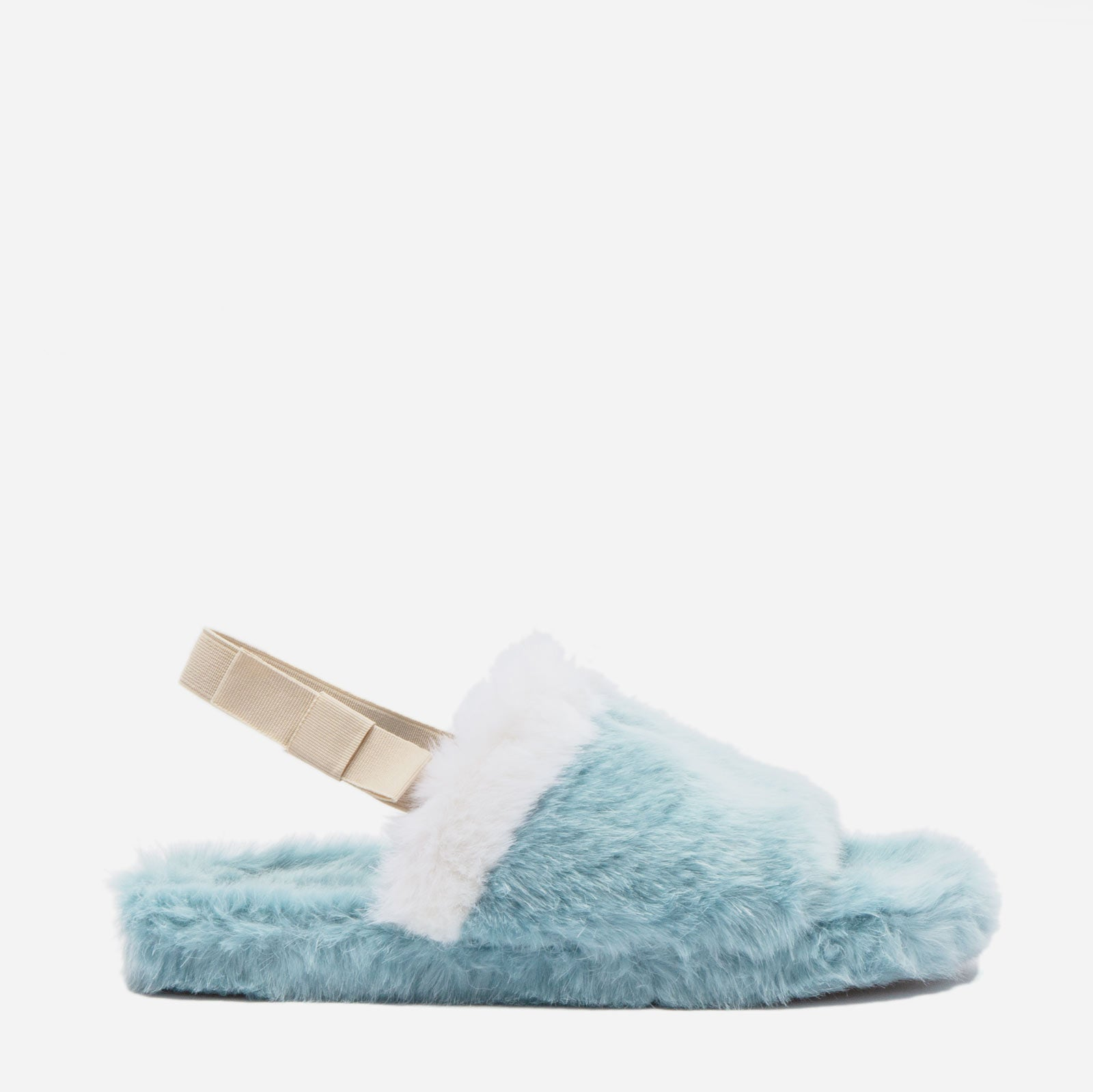 Slingback Faux Fur Slide Light Blue