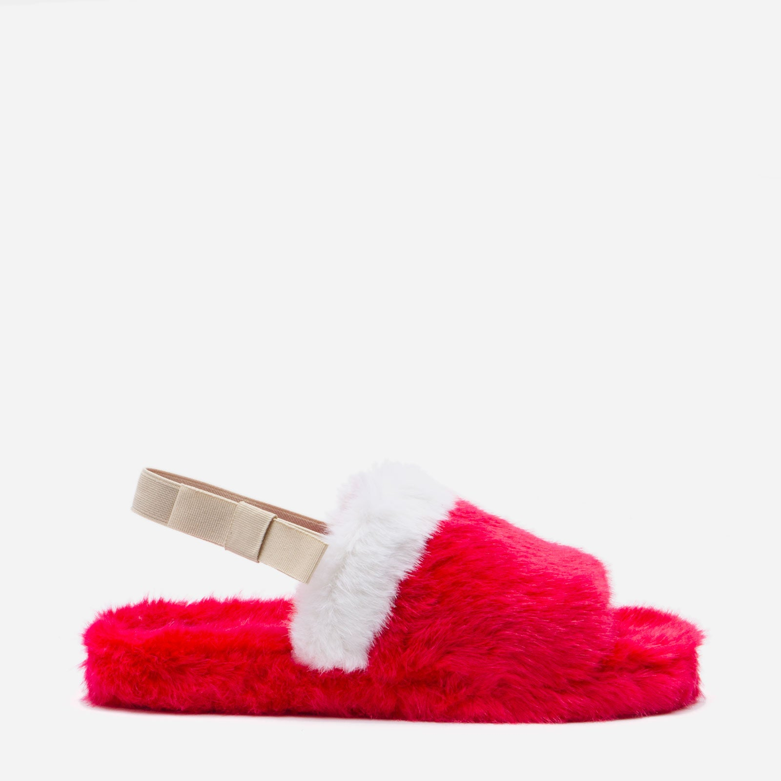 Slingback Faux Fur Slide Red
