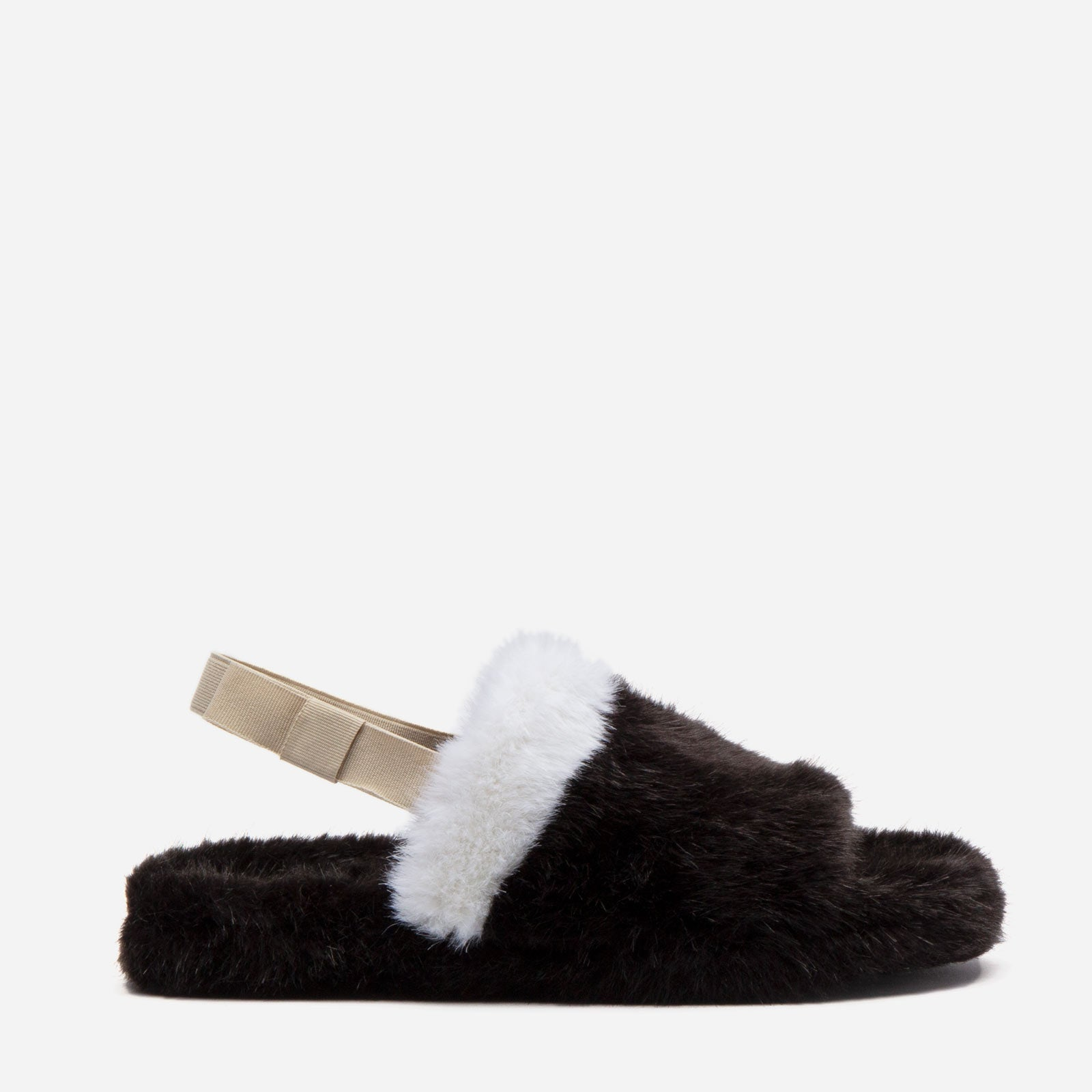 Slingback Faux Fur Slide Black