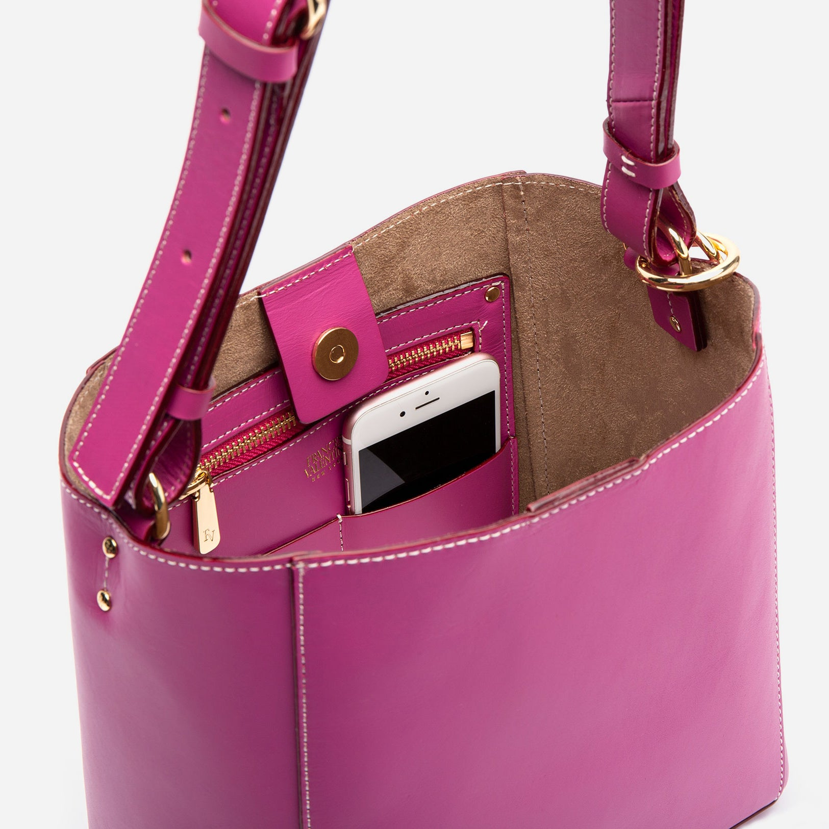 Small June Leather Tote Bright Pink