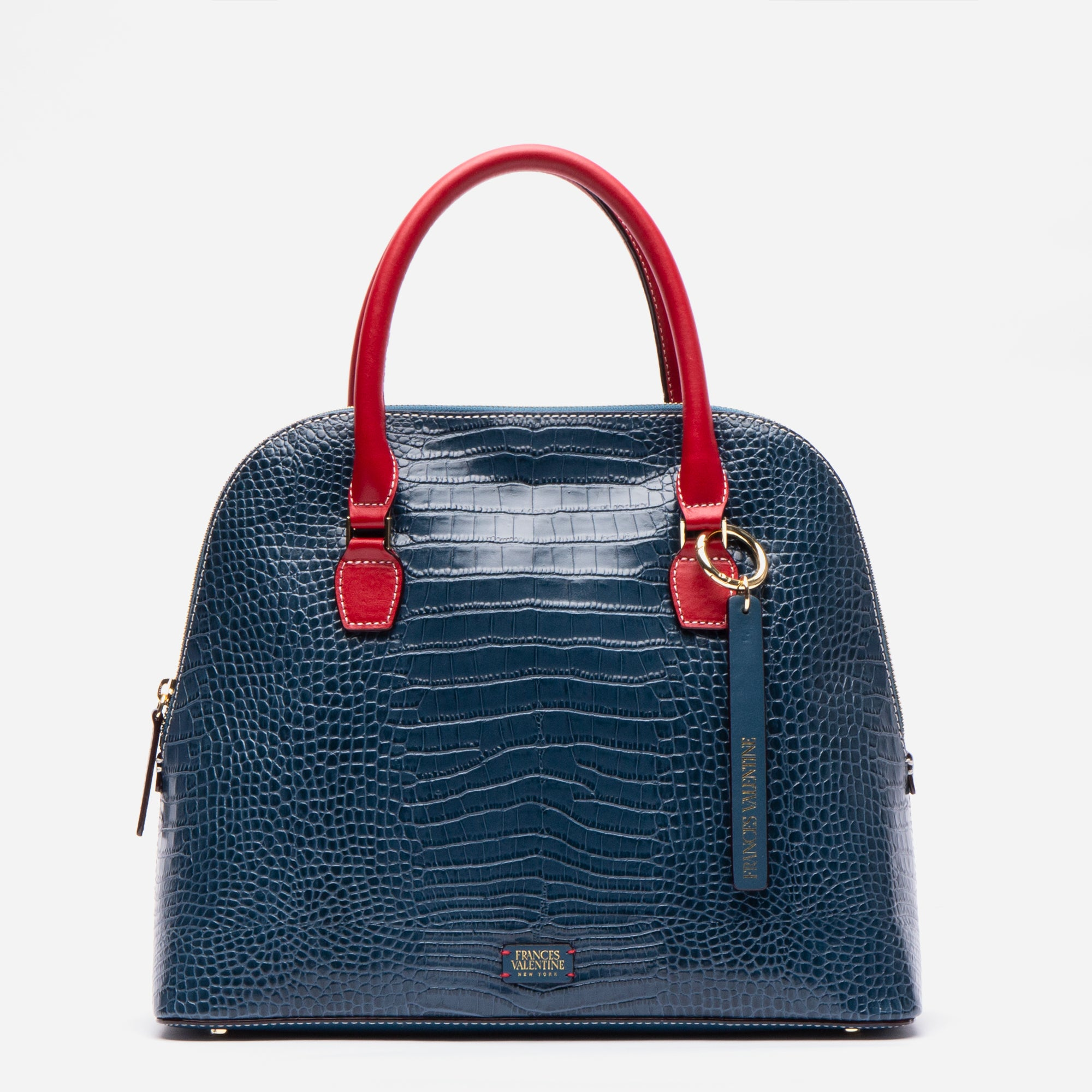 Rachel Satchel Croc Embossed Blue