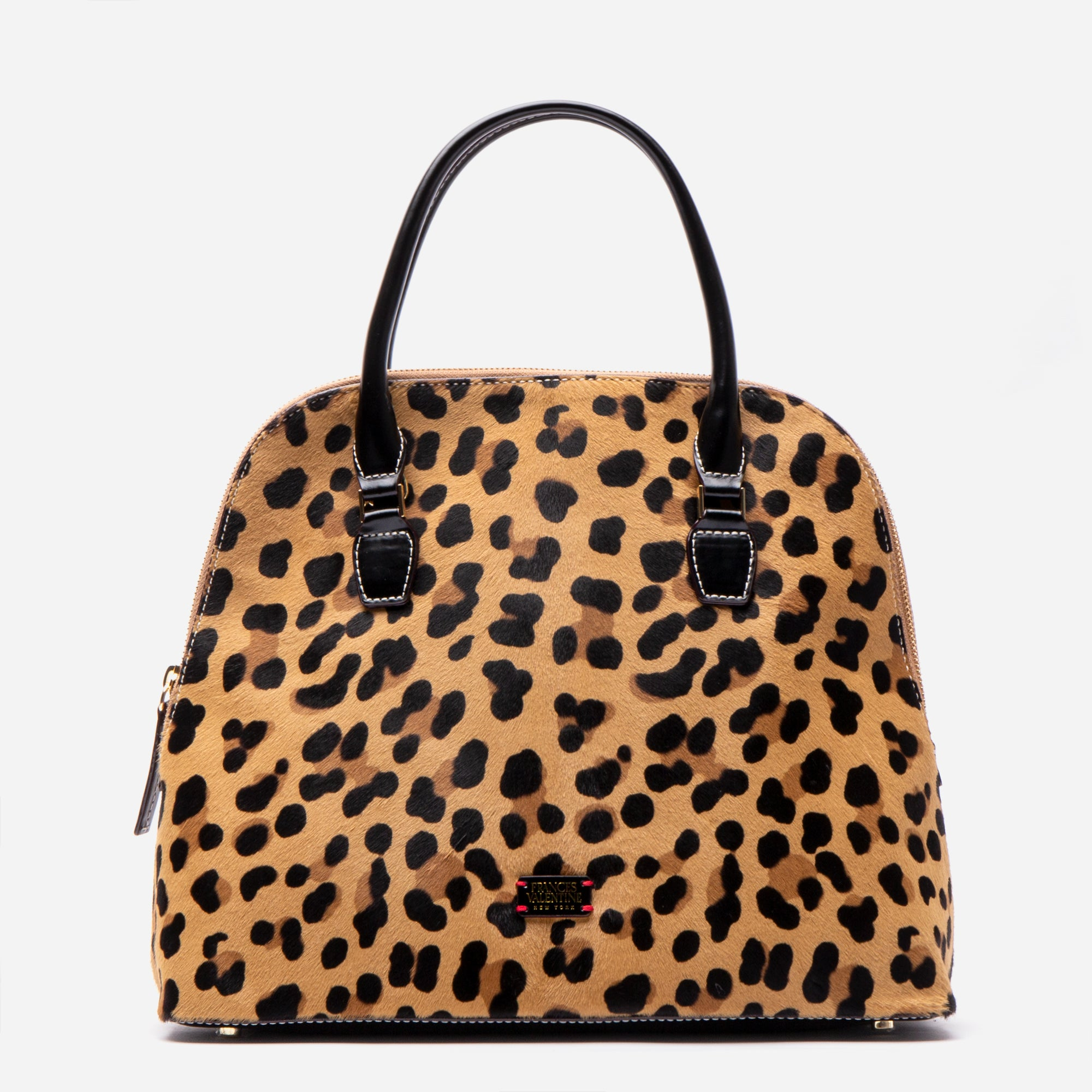 Rachel Leopard Printed Haircalf Satchel