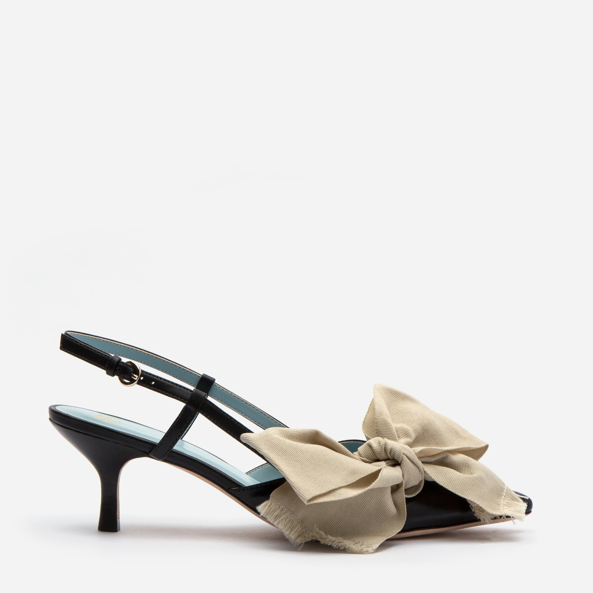 Grace Bow Kitten Heel Black Oyster - Frances Valentine